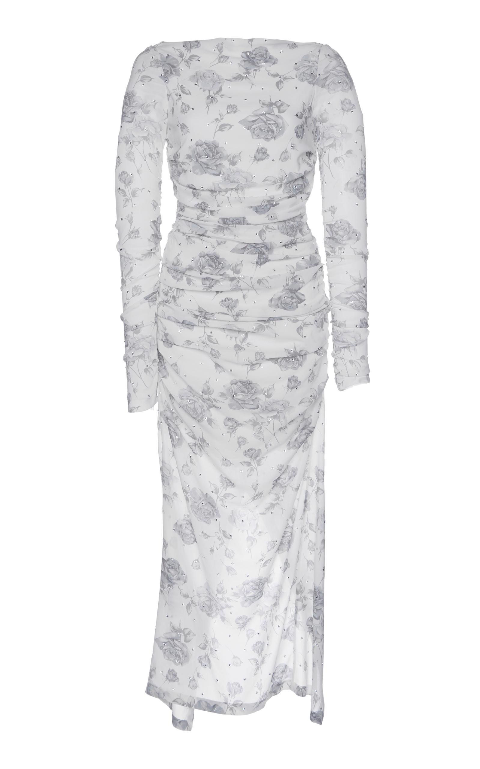 Alessandra Rich Crystal Georgette Midi Dress In Grey
