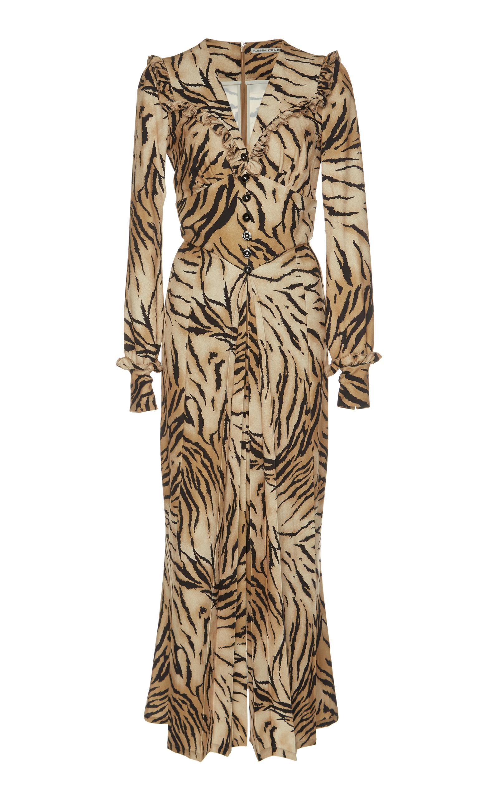 Alessandra Rich Tiger Printed SablÉ Midi Dress In Multi