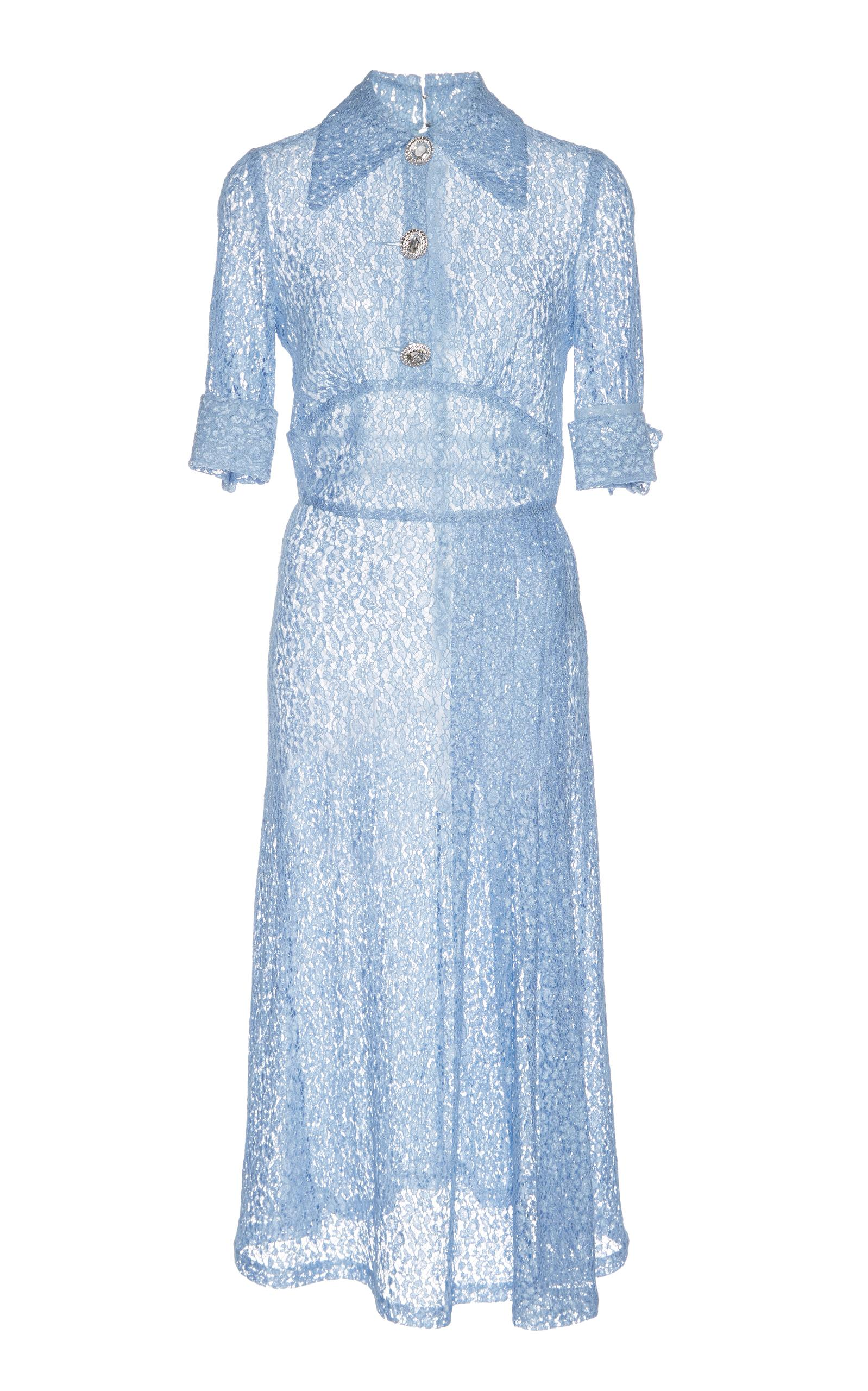 Alessandra Rich Knee Length Dress With Crystal Buttons In Blue