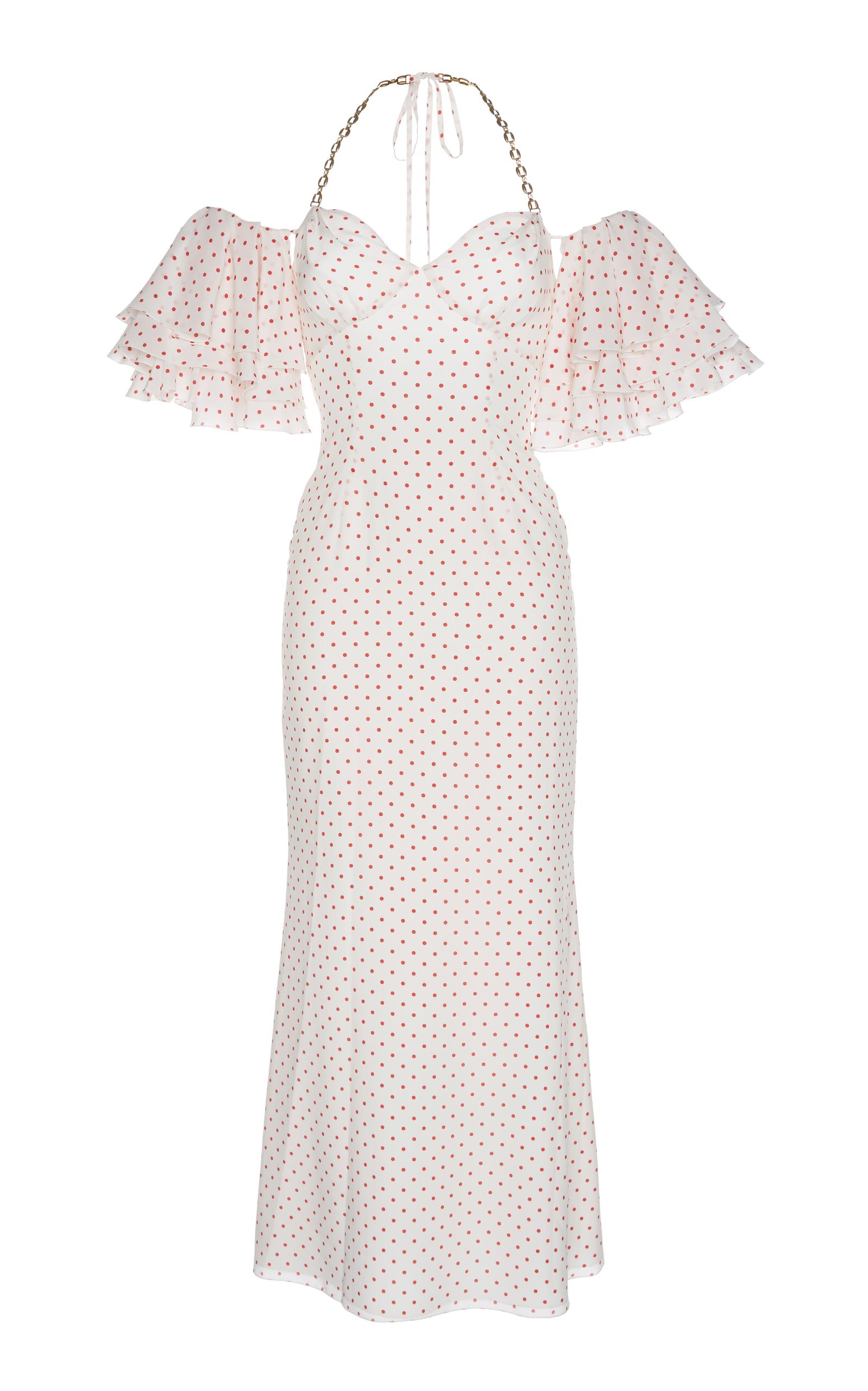 Alessandra Rich Polka Dot Off The Shoulder Dress In White