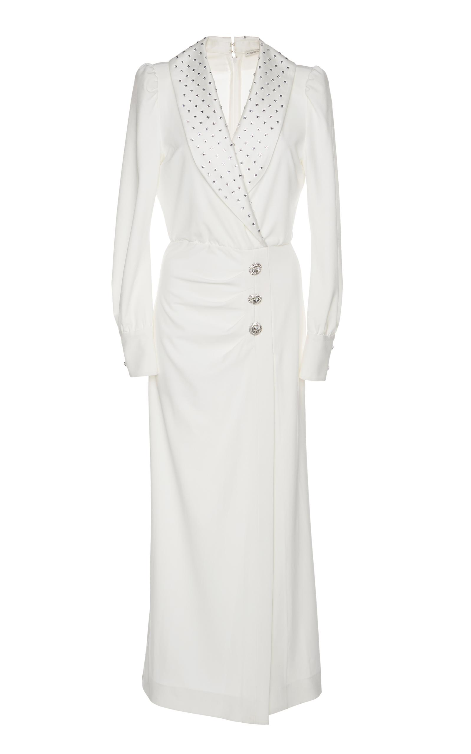 Alessandra Rich Hollywood Sable Crystal-Embellished Dress In White