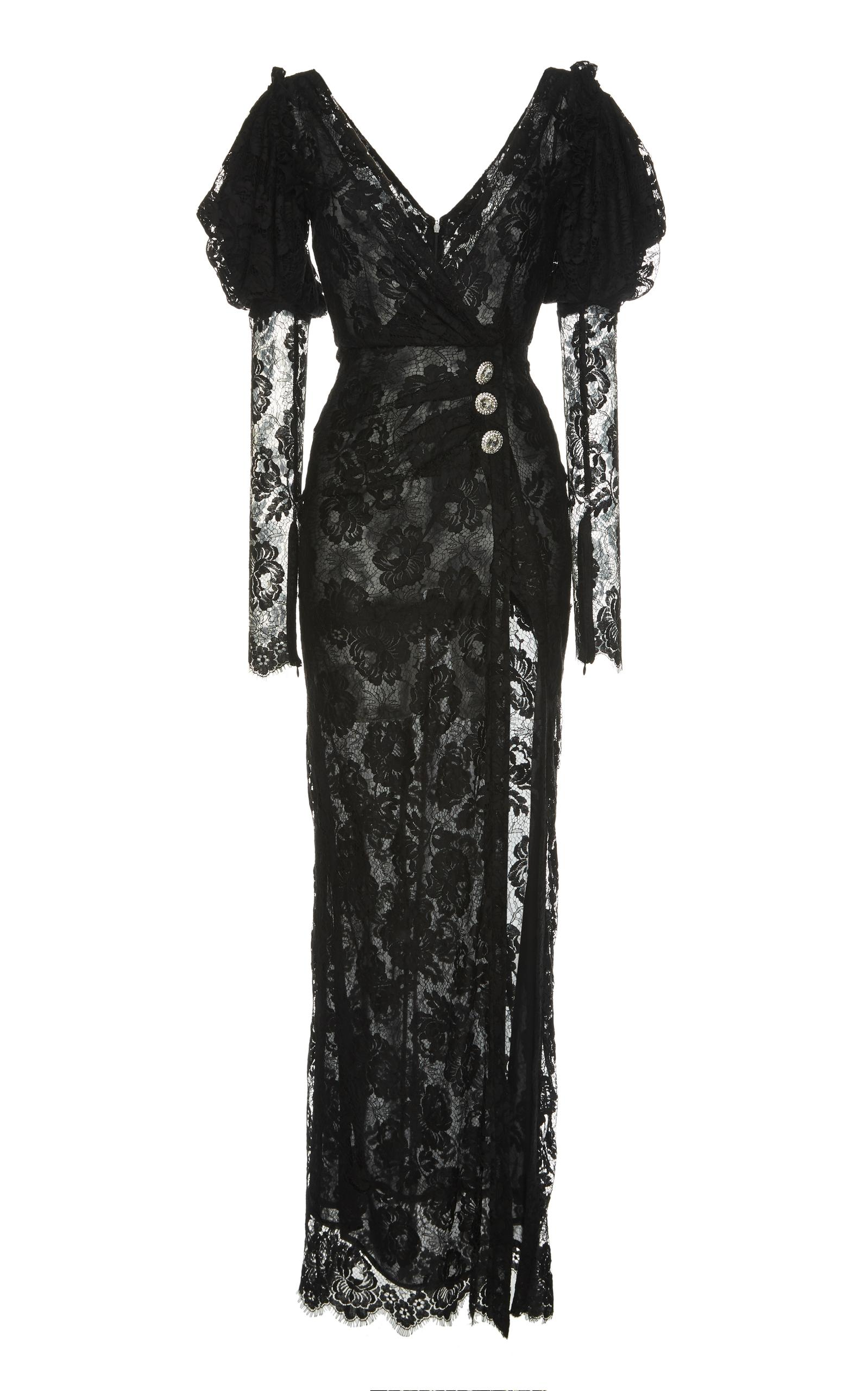 Alessandra Rich Long Sleeve Lace Gown In Black
