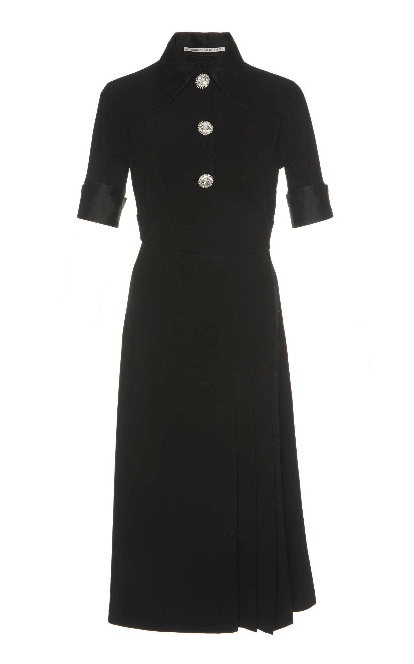 Alessandra Rich Knee Length SablÉ Dress With Crystal Buttons In Black