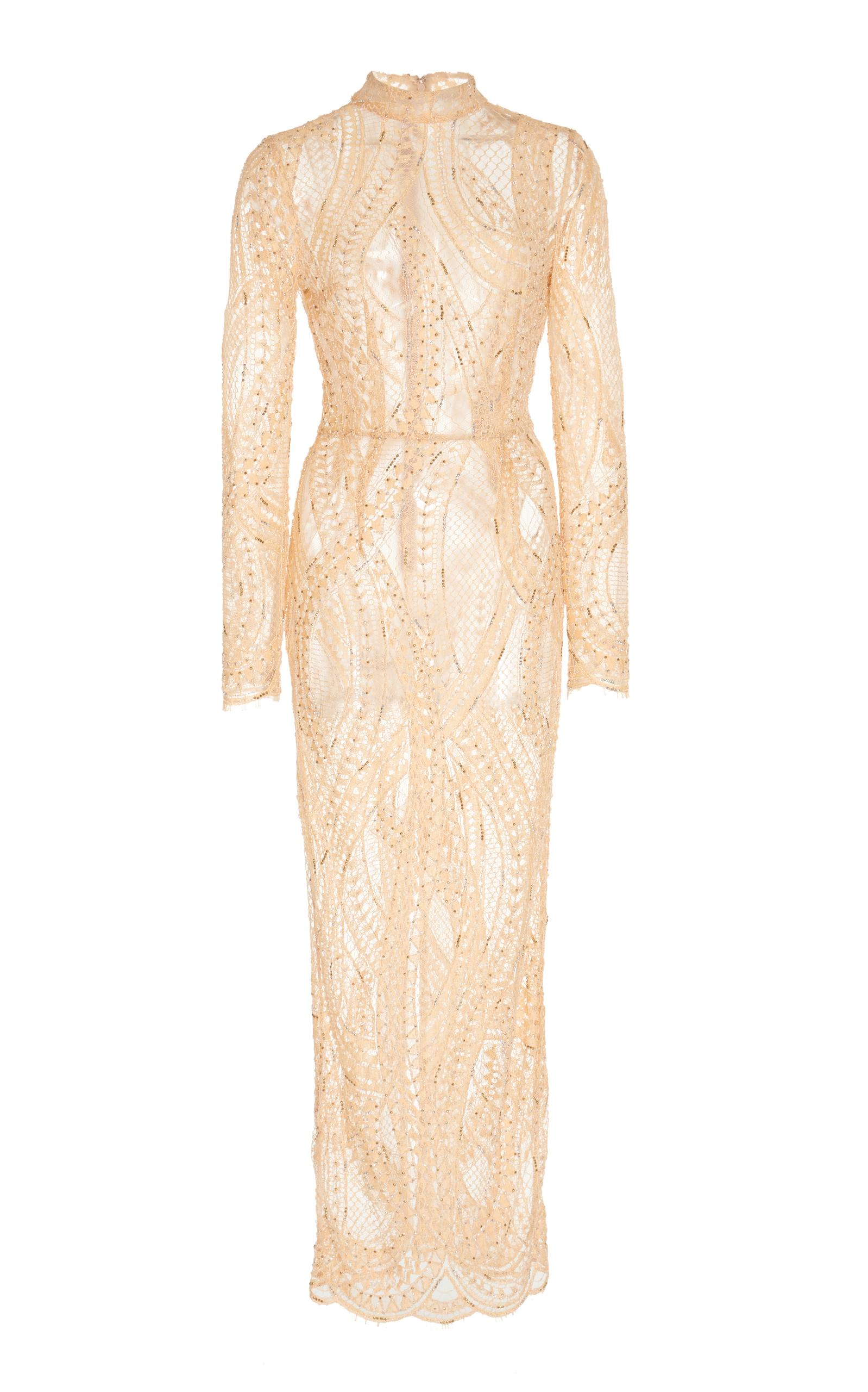 Alessandra Rich Crystal Embroidered Lace Dress In Neutral