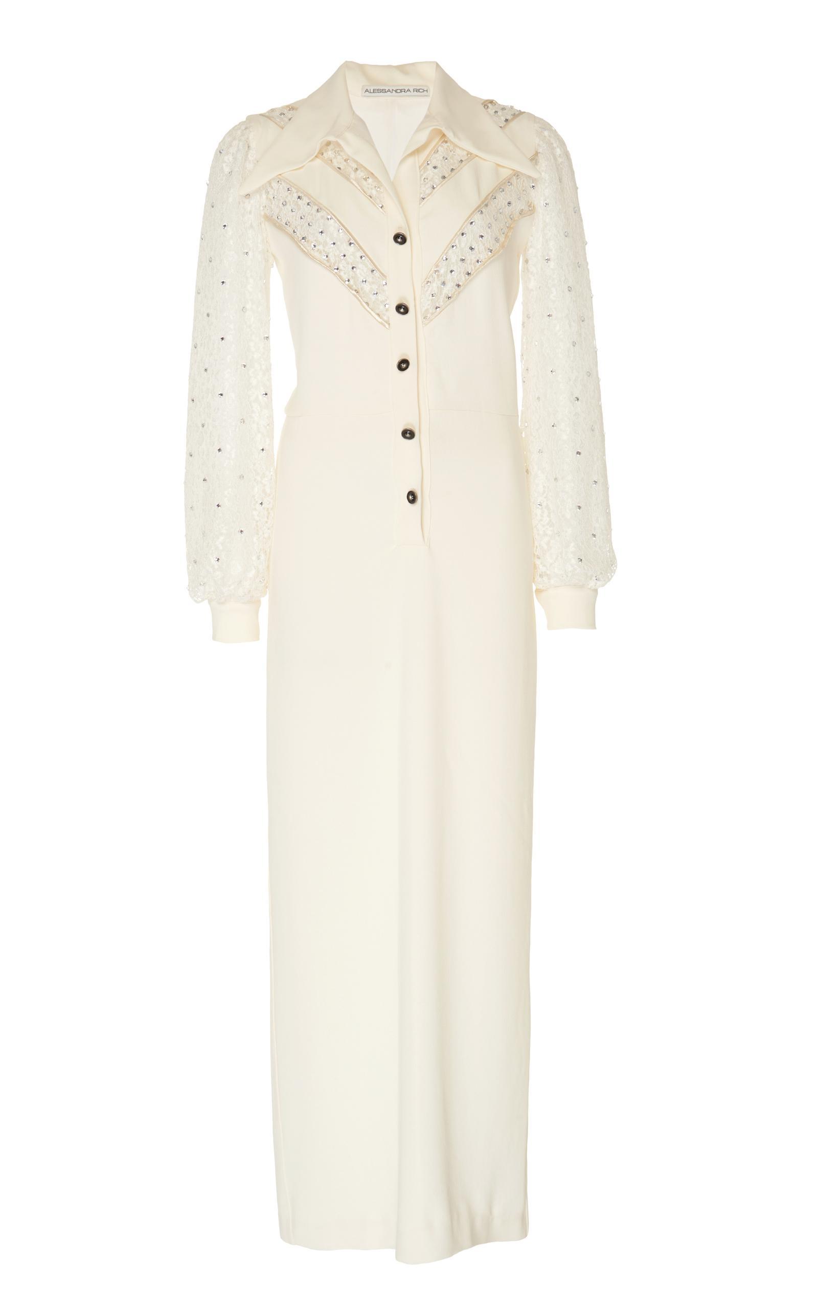 Alessandra Rich Embellished SablÉ Midi Dress In White