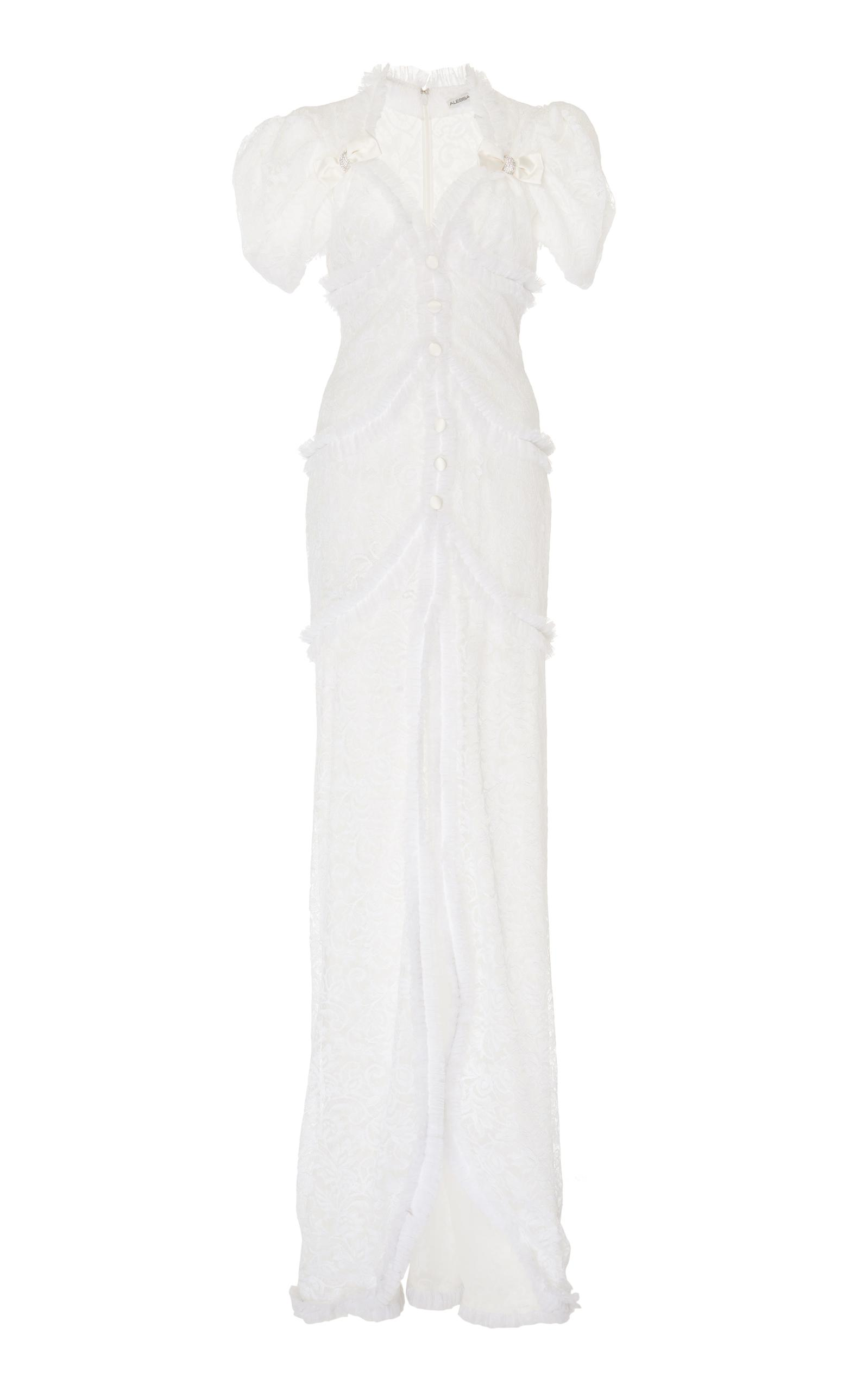 Alessandra Rich Bow Lace Gown In White