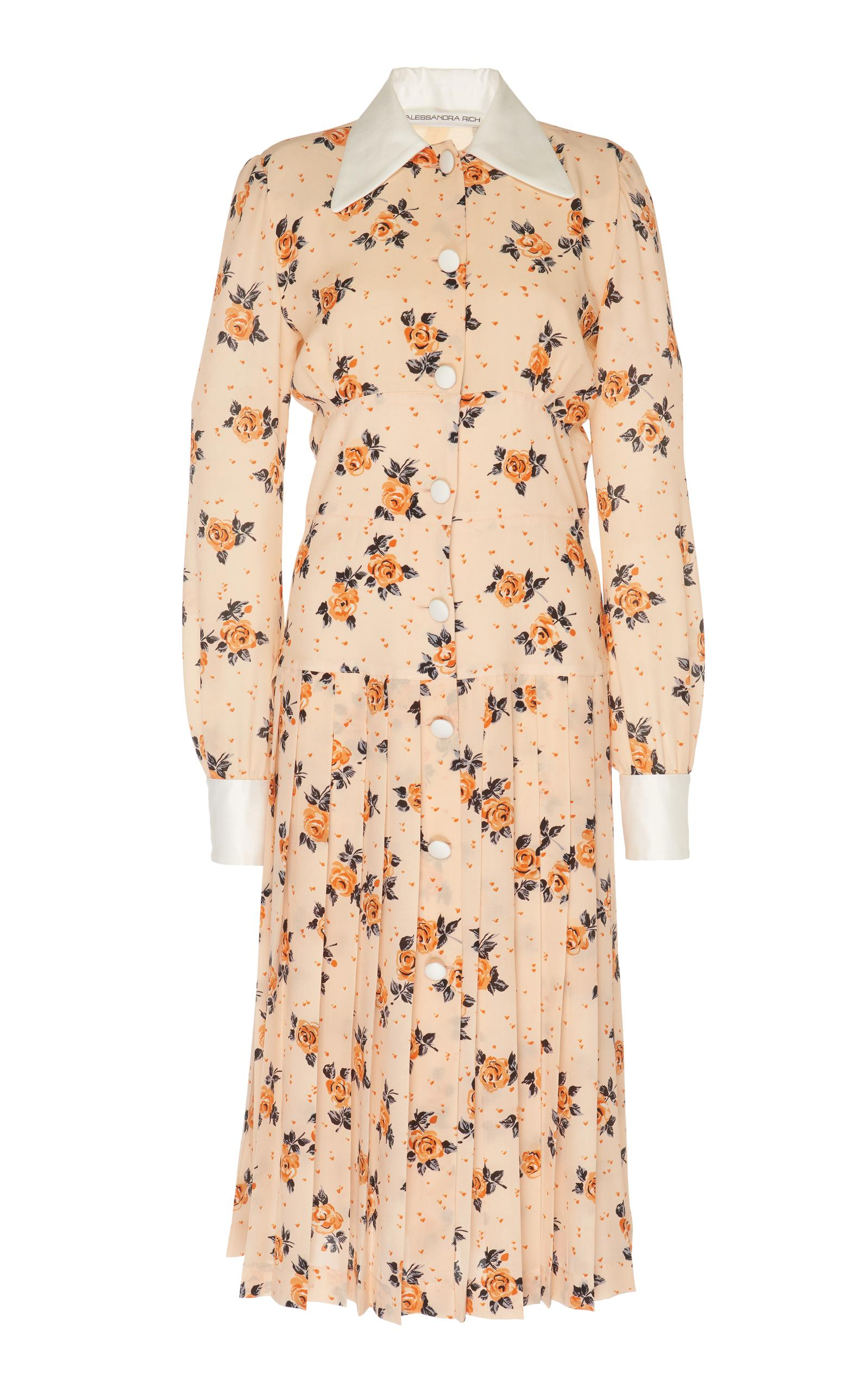 Alessandra Rich Flower Pleated Shirt Dress In Floral