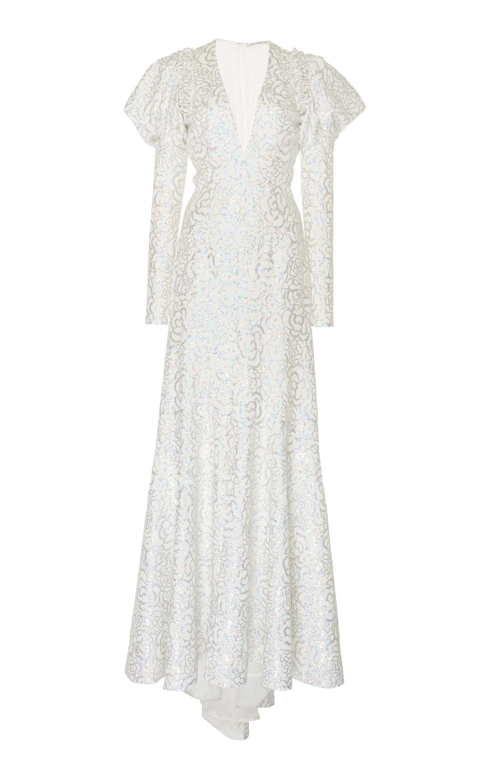 Alessandra Rich Long Sleeve Sequin Gown In White