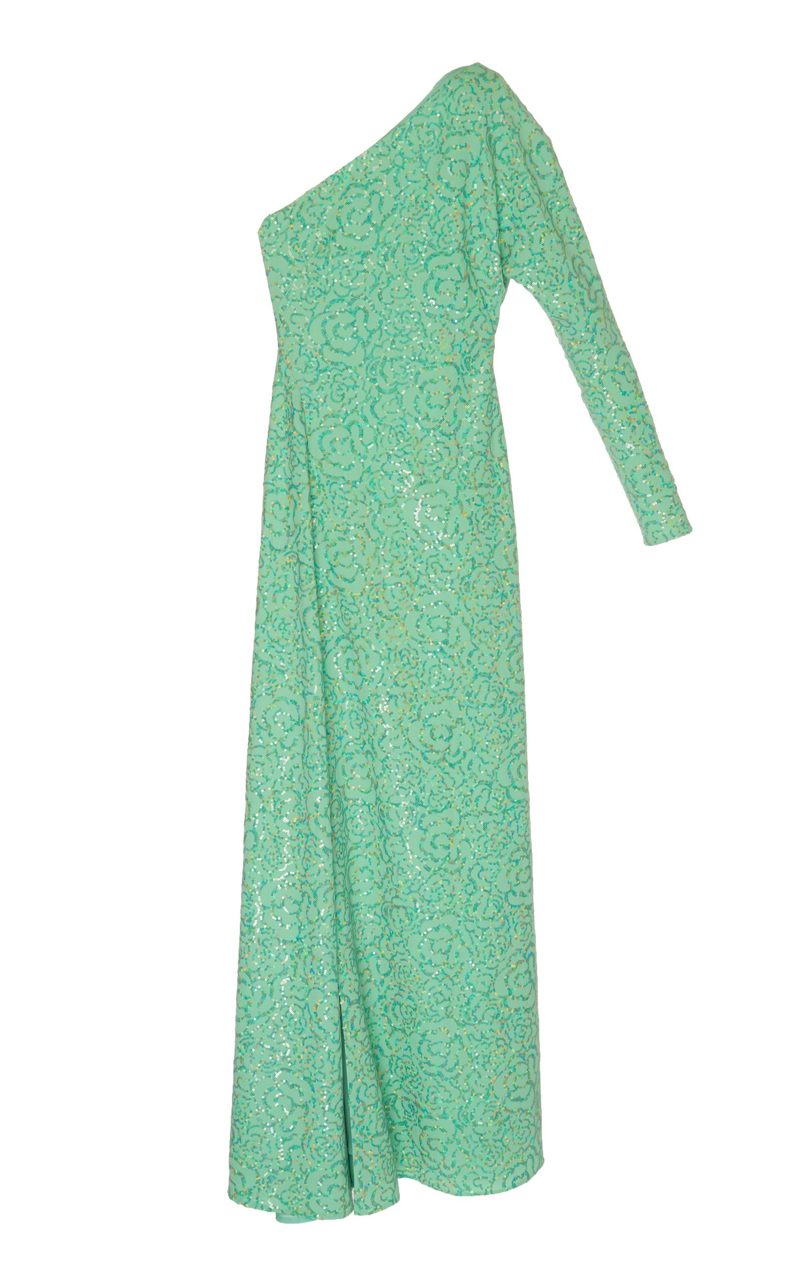 Alessandra Rich One Shouldered Sequin Gown In Green