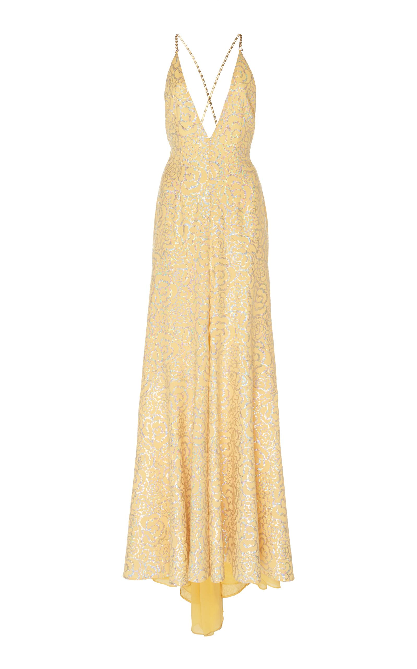 Alessandra Rich Sequined Slip Gown In Yellow