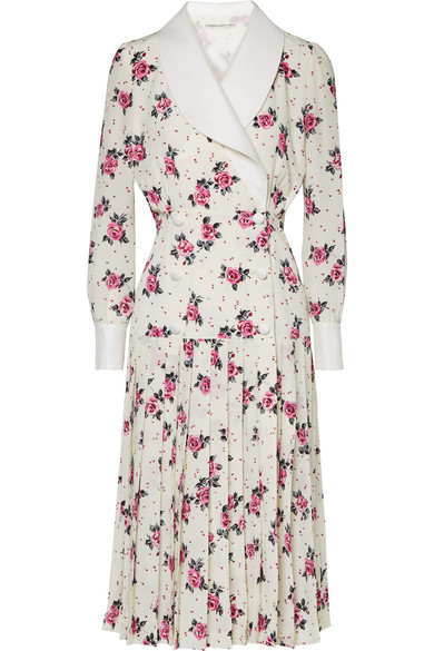 Alessandra Rich Pleated Floral-Print Silk Crepe De Chine Midi Dress In Ivory
