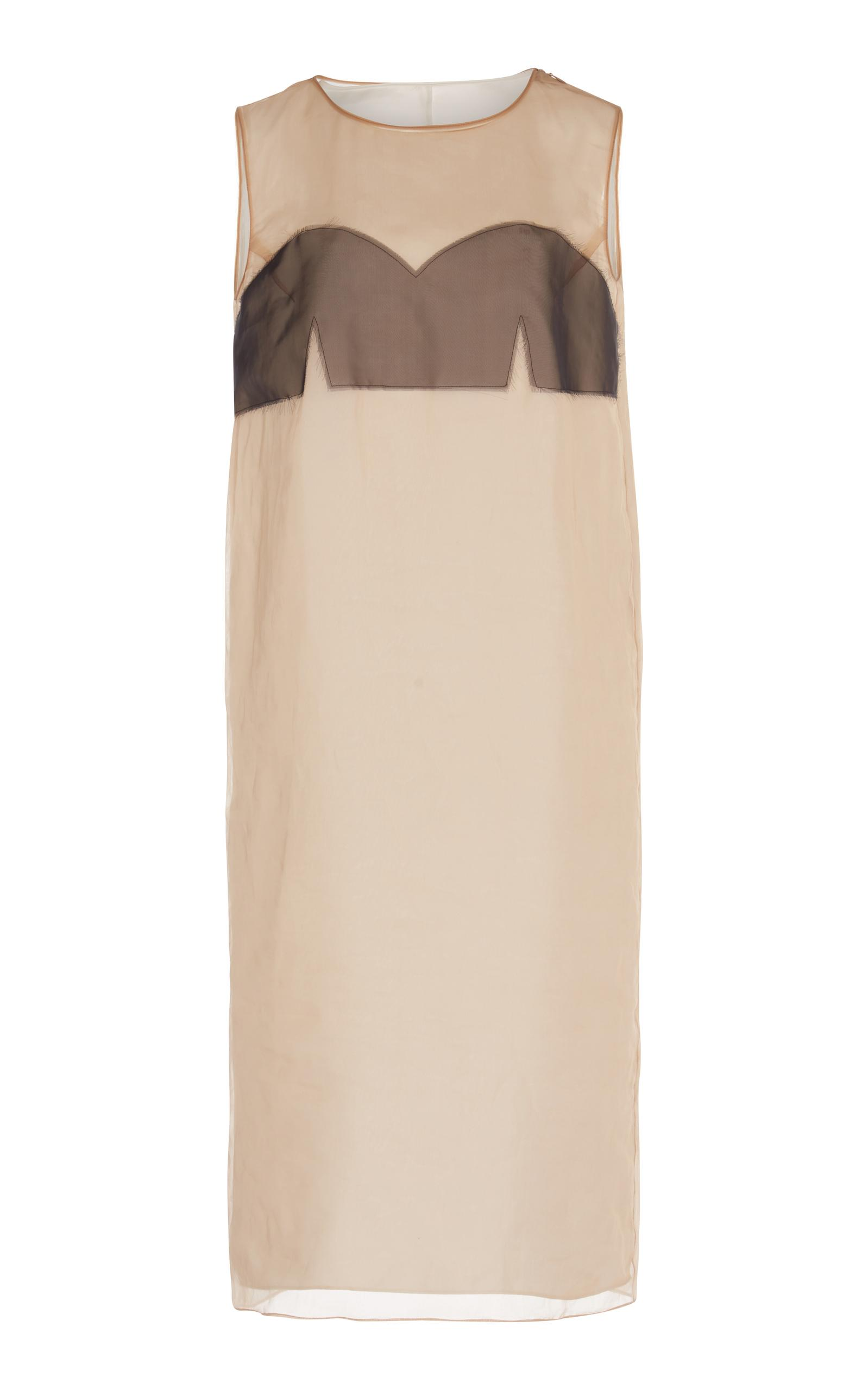 Maison Margiela Sheer Midi Dress In Neutral