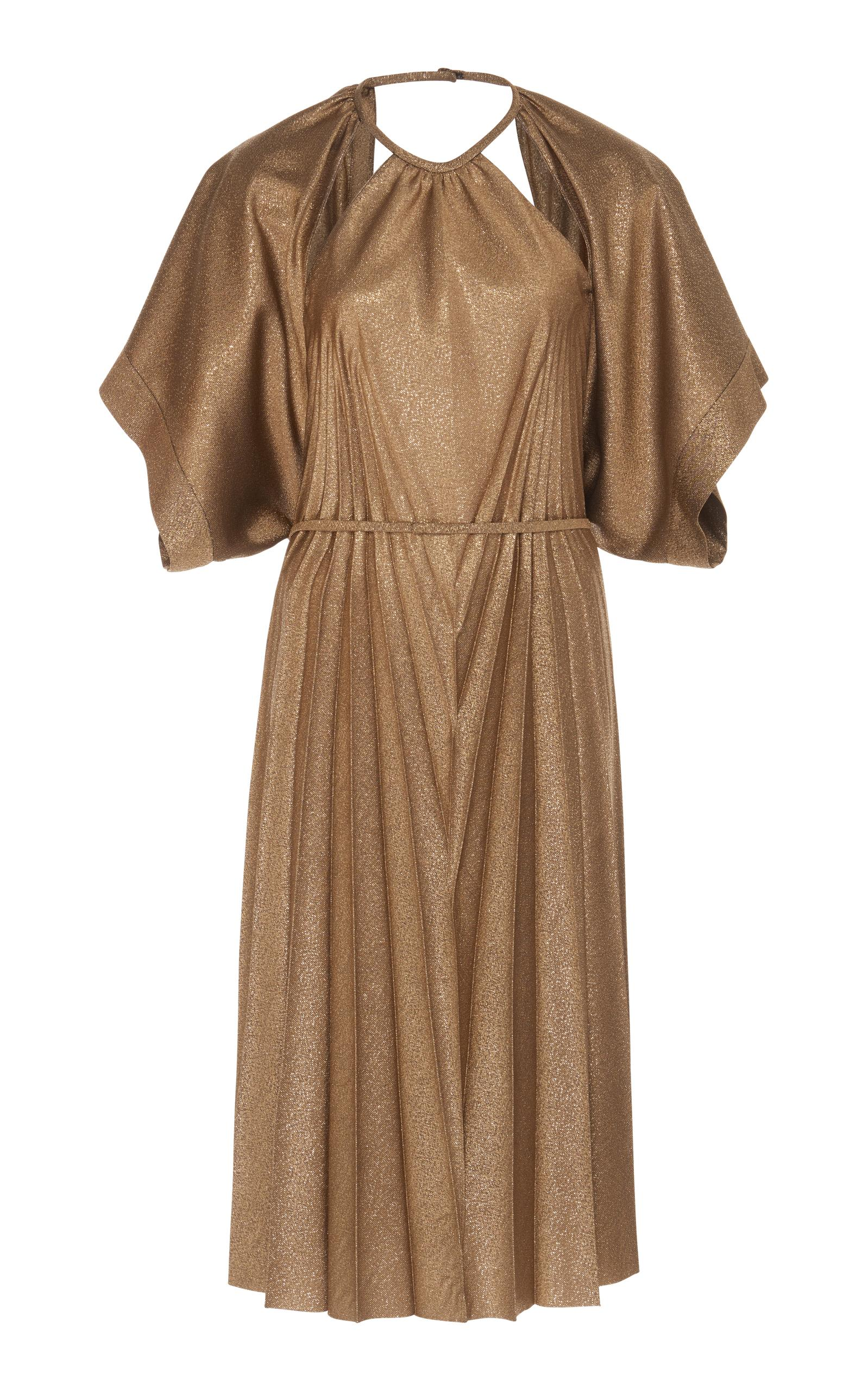 Maison Margiela Plisse Soleil Midi Dress In Gold