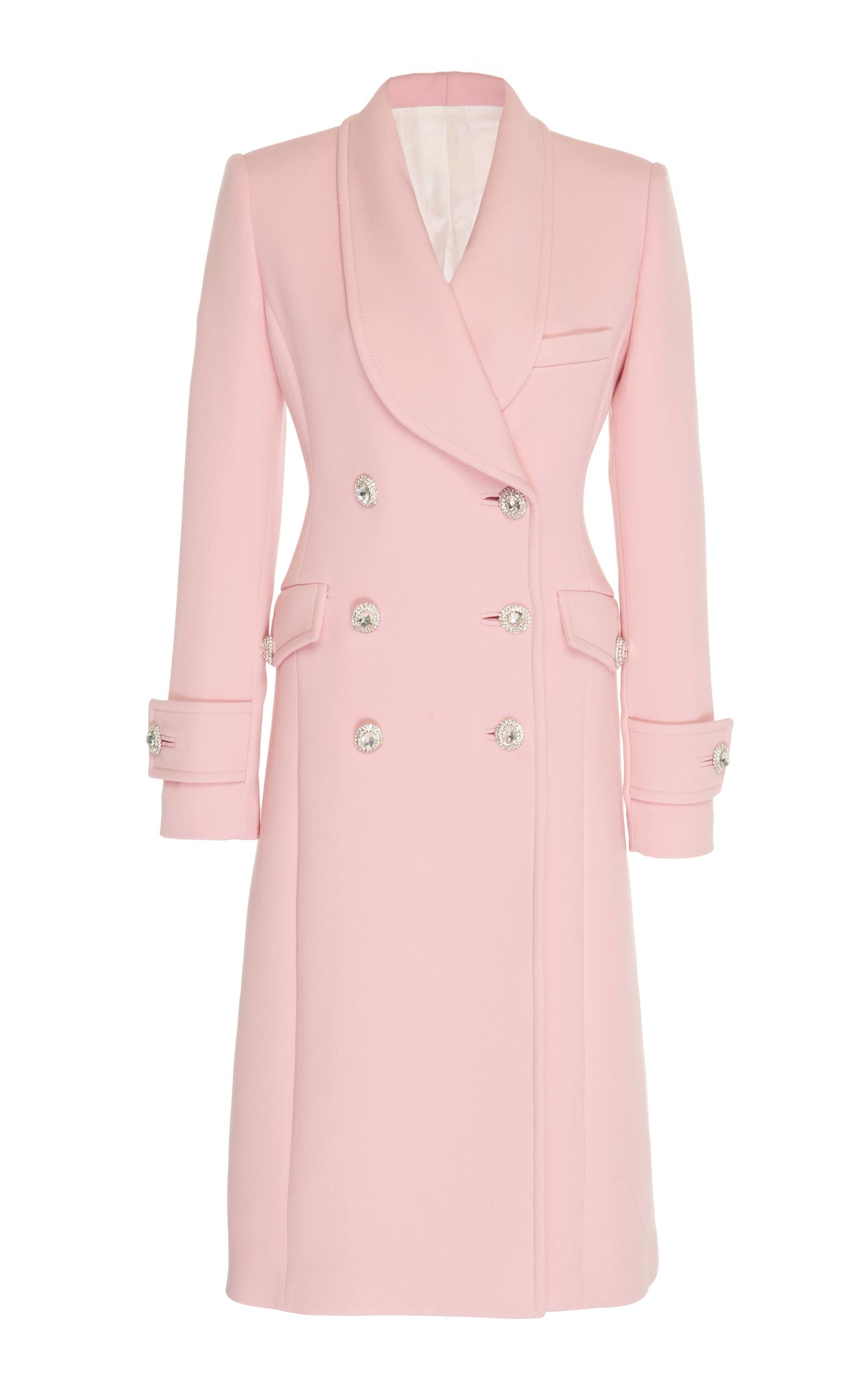 Alessandra Rich Crystal-Embellished Wool-Cady Coat In Pink