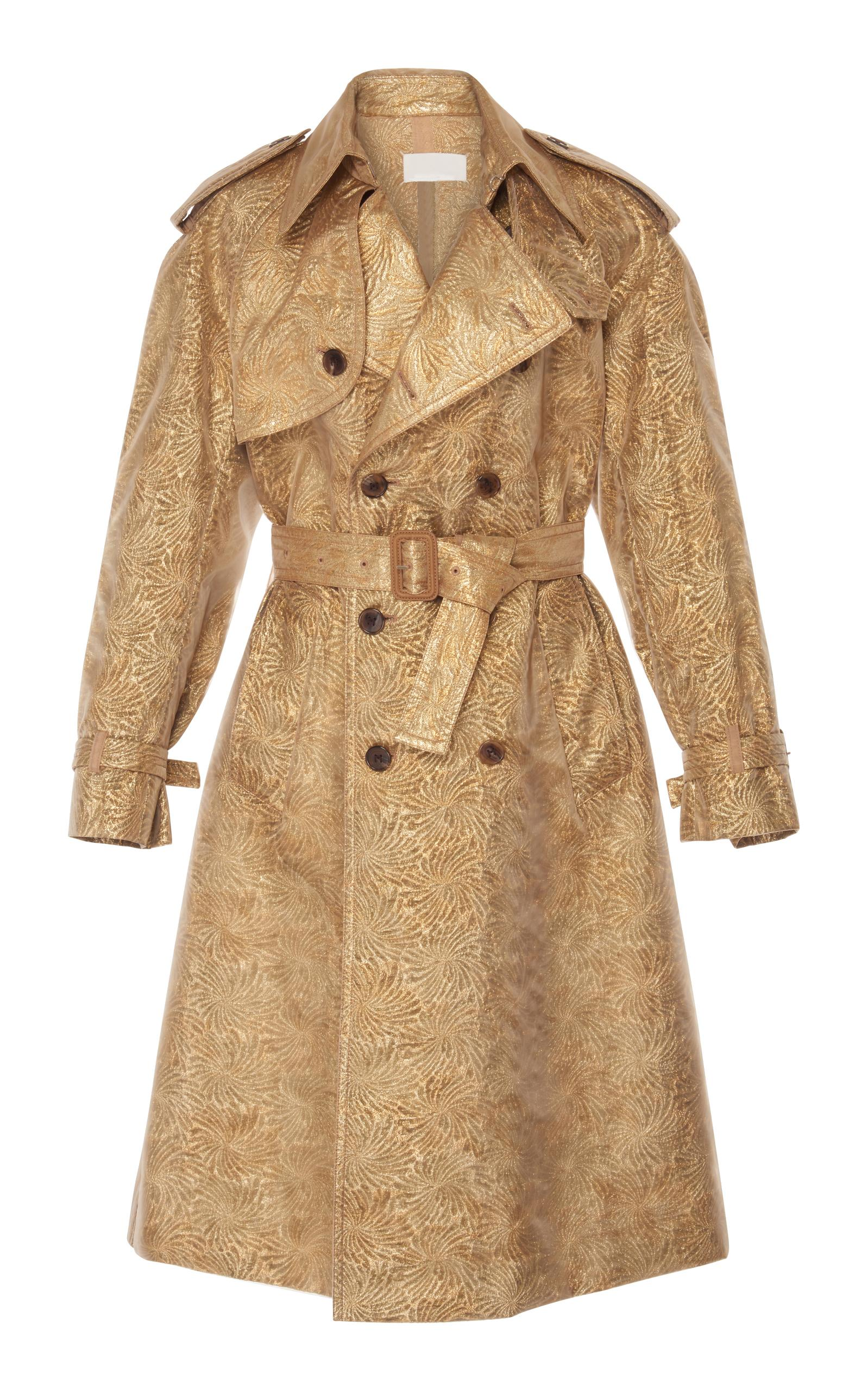 Maison Margiela Cloque Trench Coat In Gold