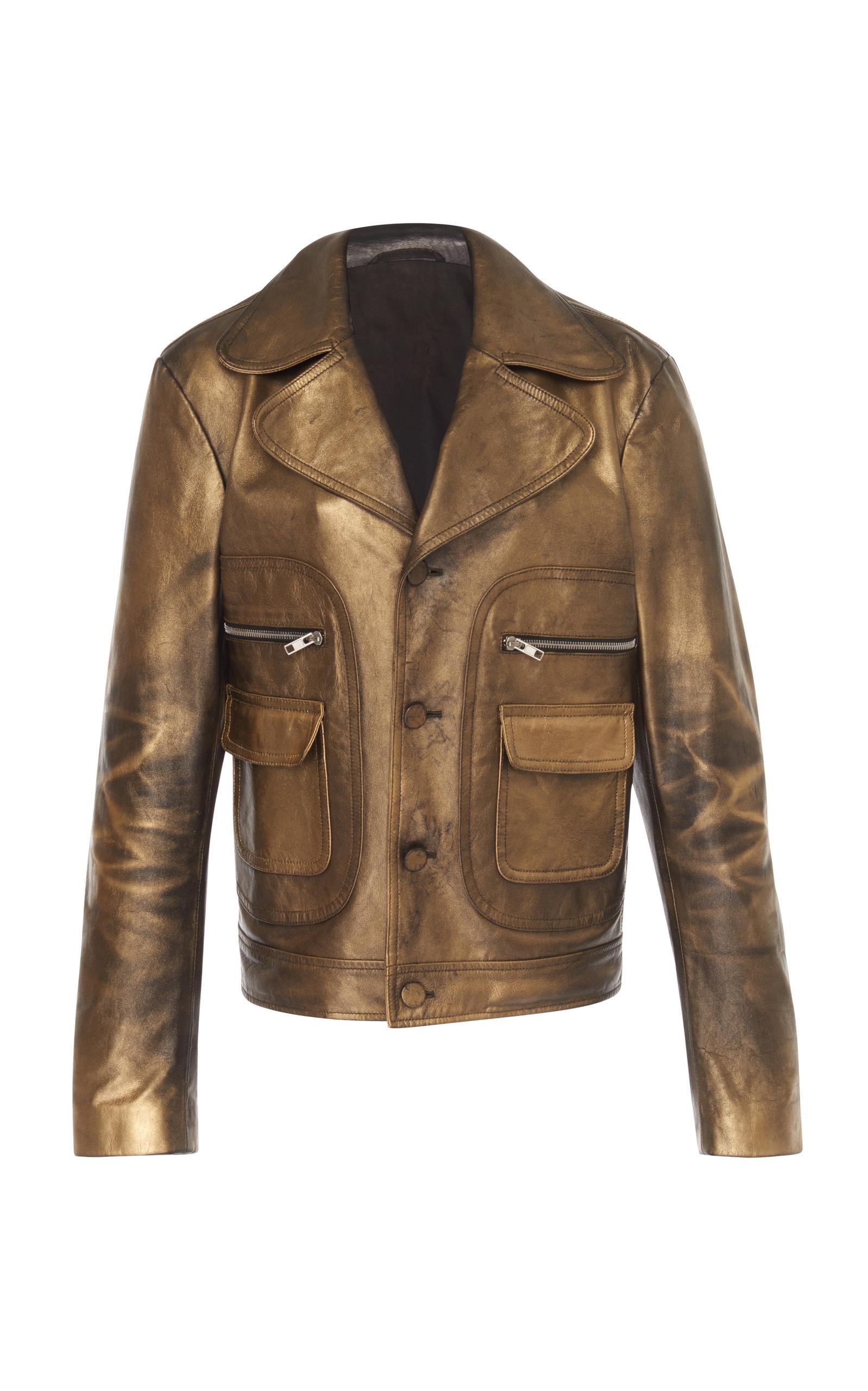 Maison Margiela Gold Coated Leather Jacket