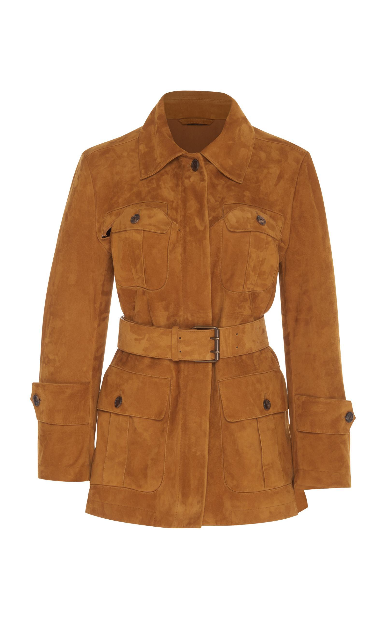 Maison Margiela Suede Safari Coat In Brown