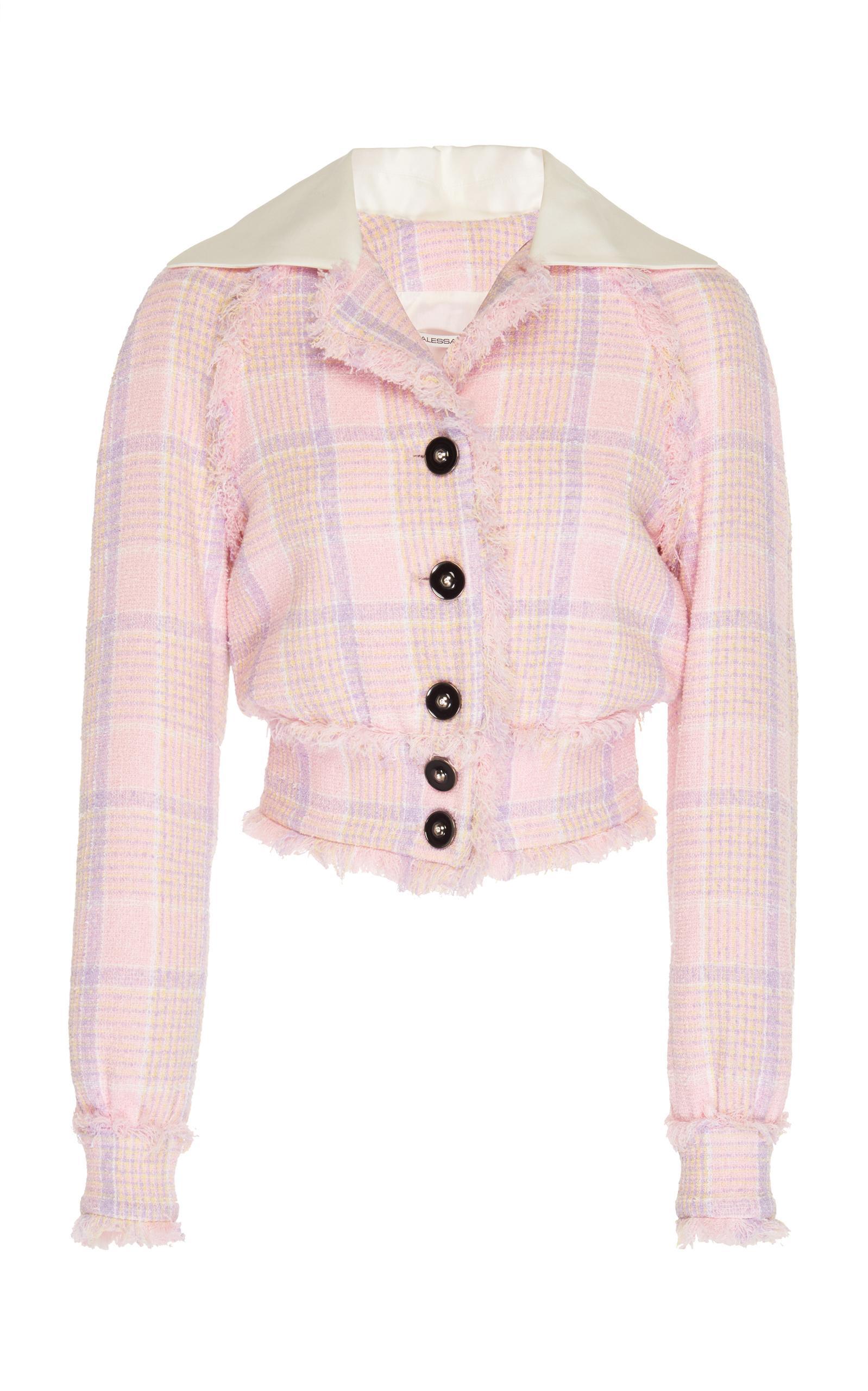 Alessandra Rich Tartan Tweed Bomber Jacket In Pink