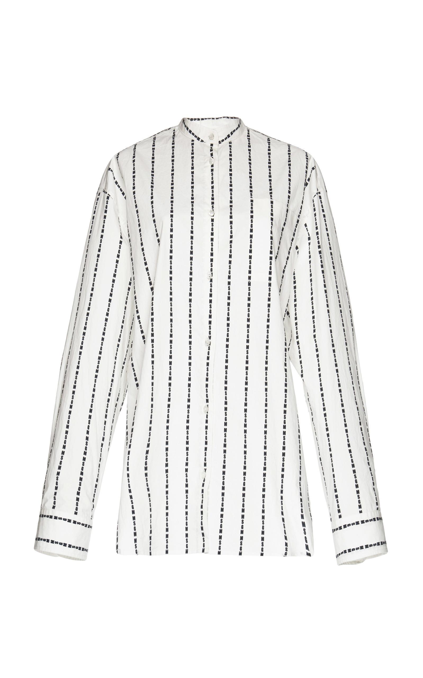 Msgm Mini Striped Tunic Shirt In White