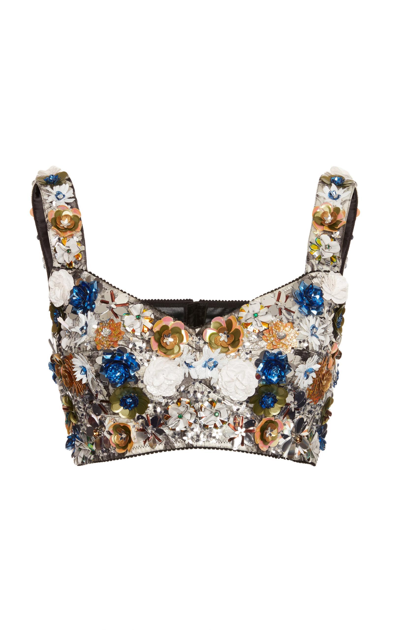 Dolce & Gabbana Sequin Embellished Bralette In Multi