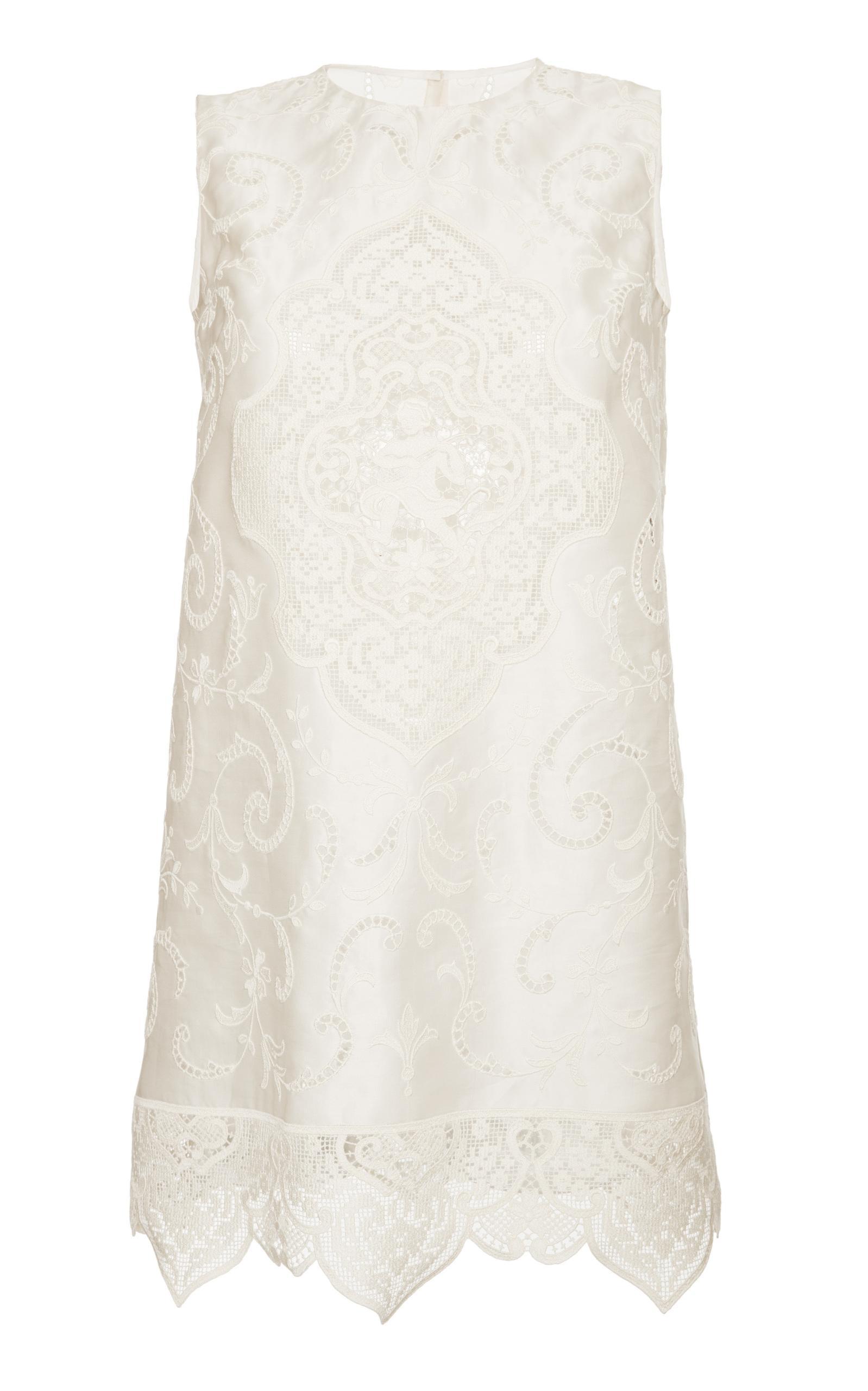Dolce & Gabbana Cap Sleeve Lace Tunic In Neutral