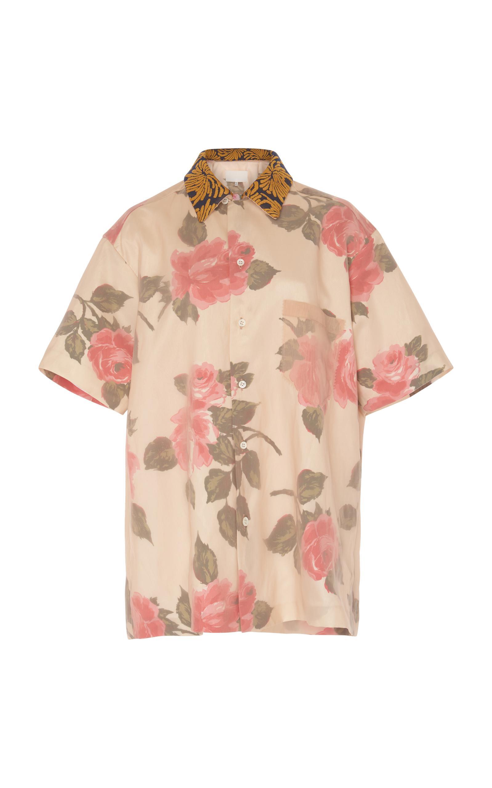 Maison Margiela Cut Out Floral Shirt In Multi