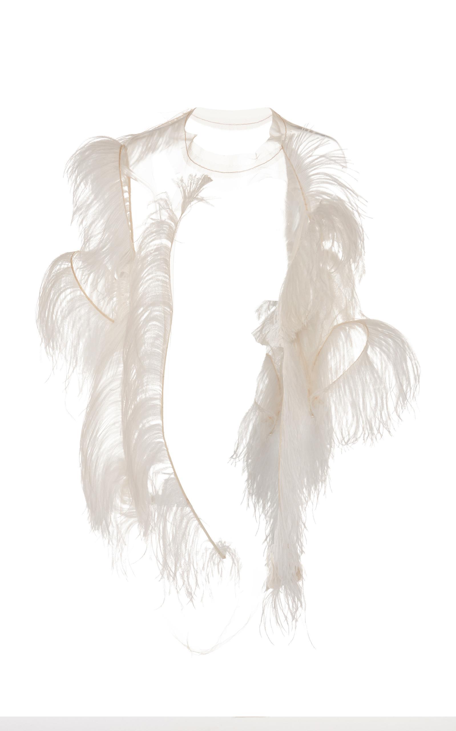 Maison Margiela Ostrich Feather Skeleton Top In White