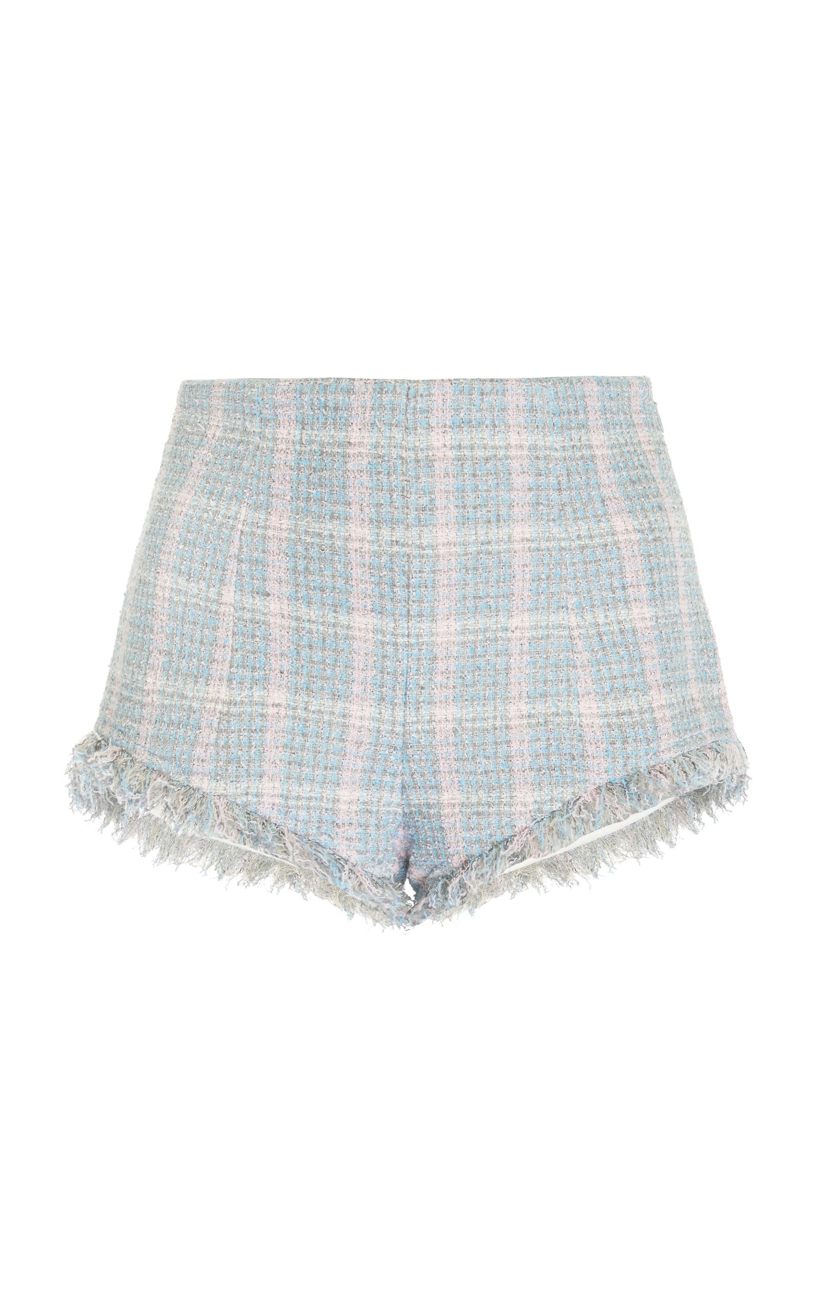 Alessandra Rich Tartan Tweed Shorts In Blue