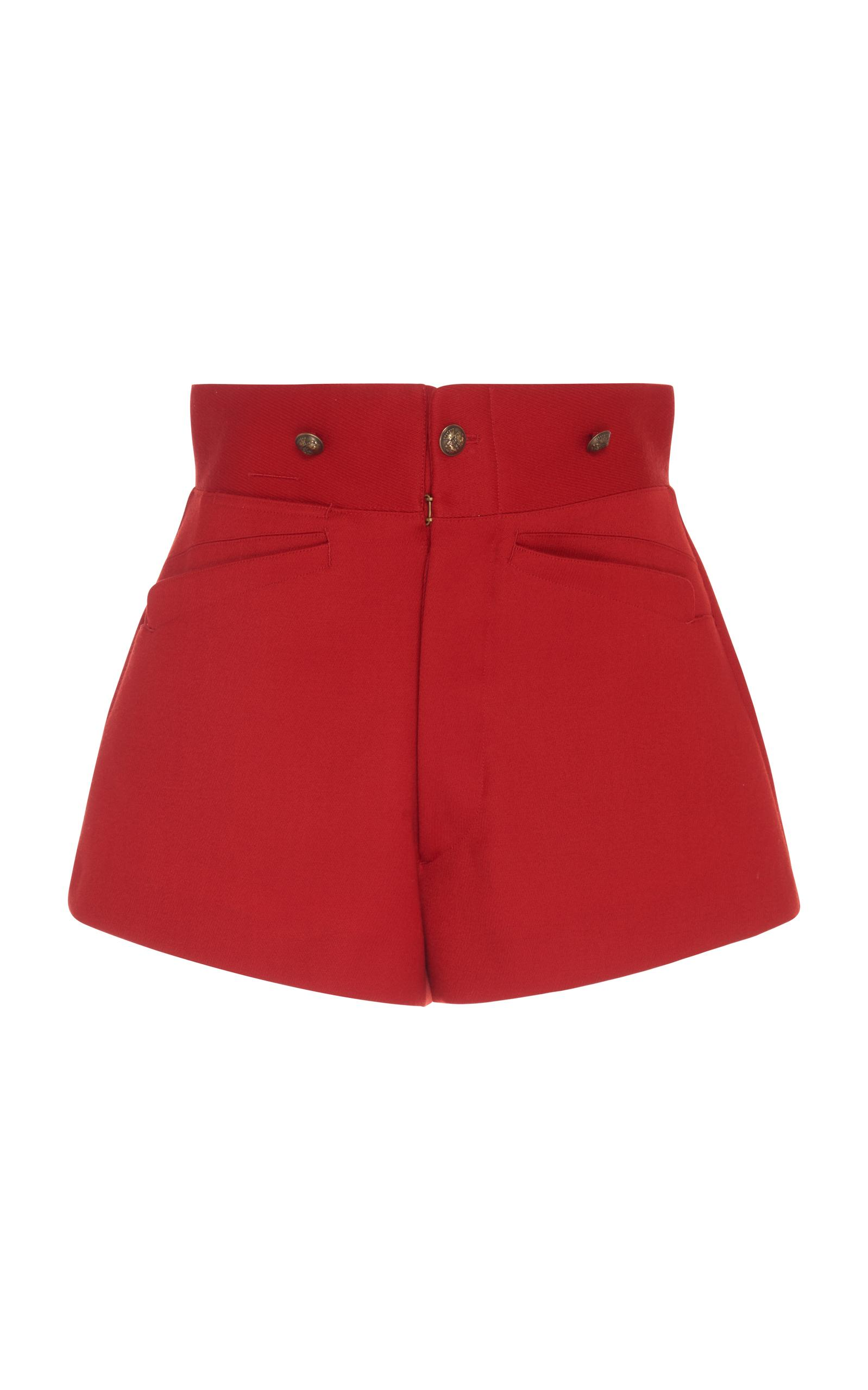 Maison Margiela High Waisted Riding Shorts In Red