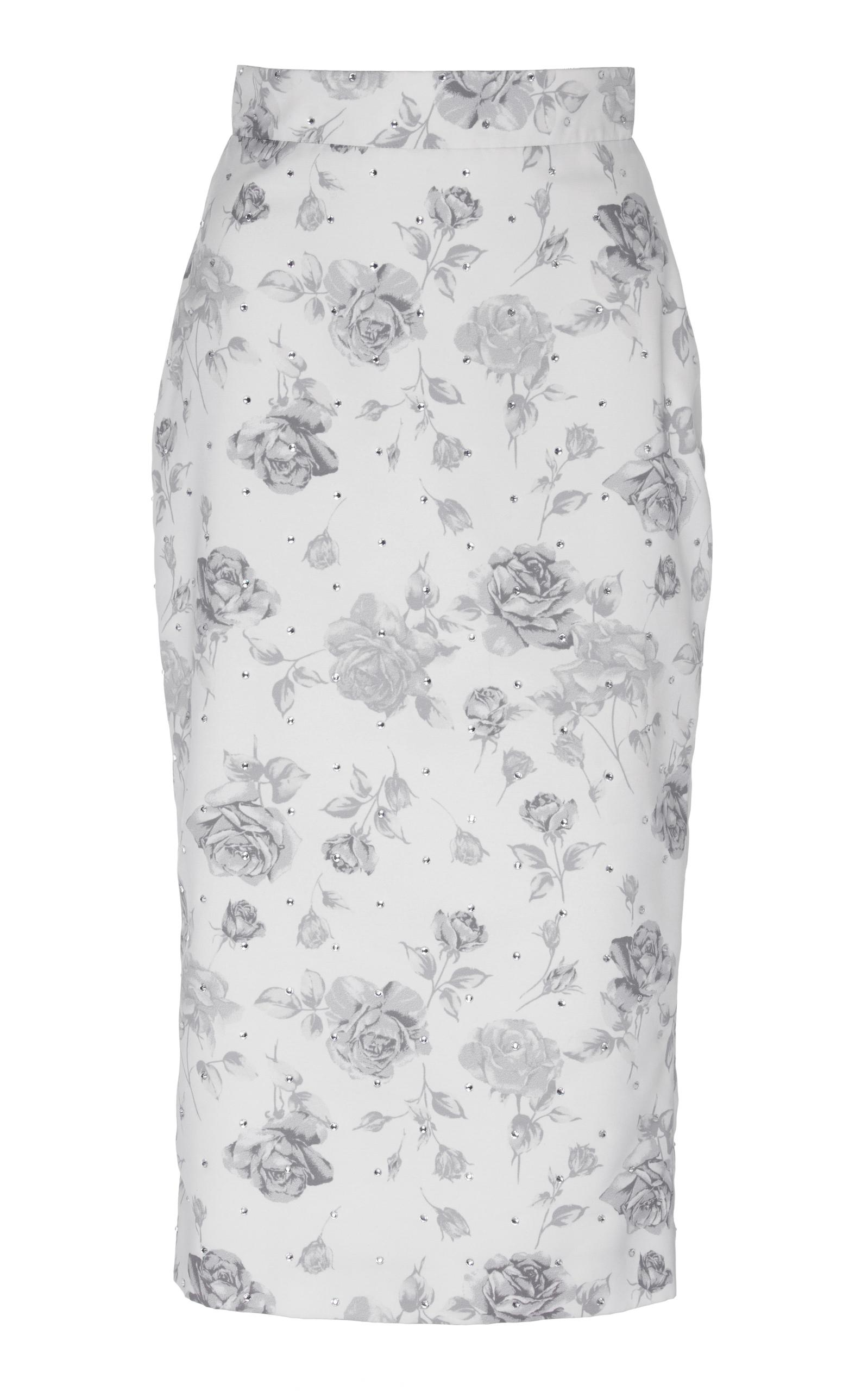 Alessandra Rich Crystal Pencil Skirt In White