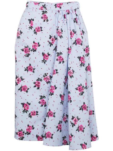 Alessandra Rich Rose Print Asymmetric Skirt In Multicolour