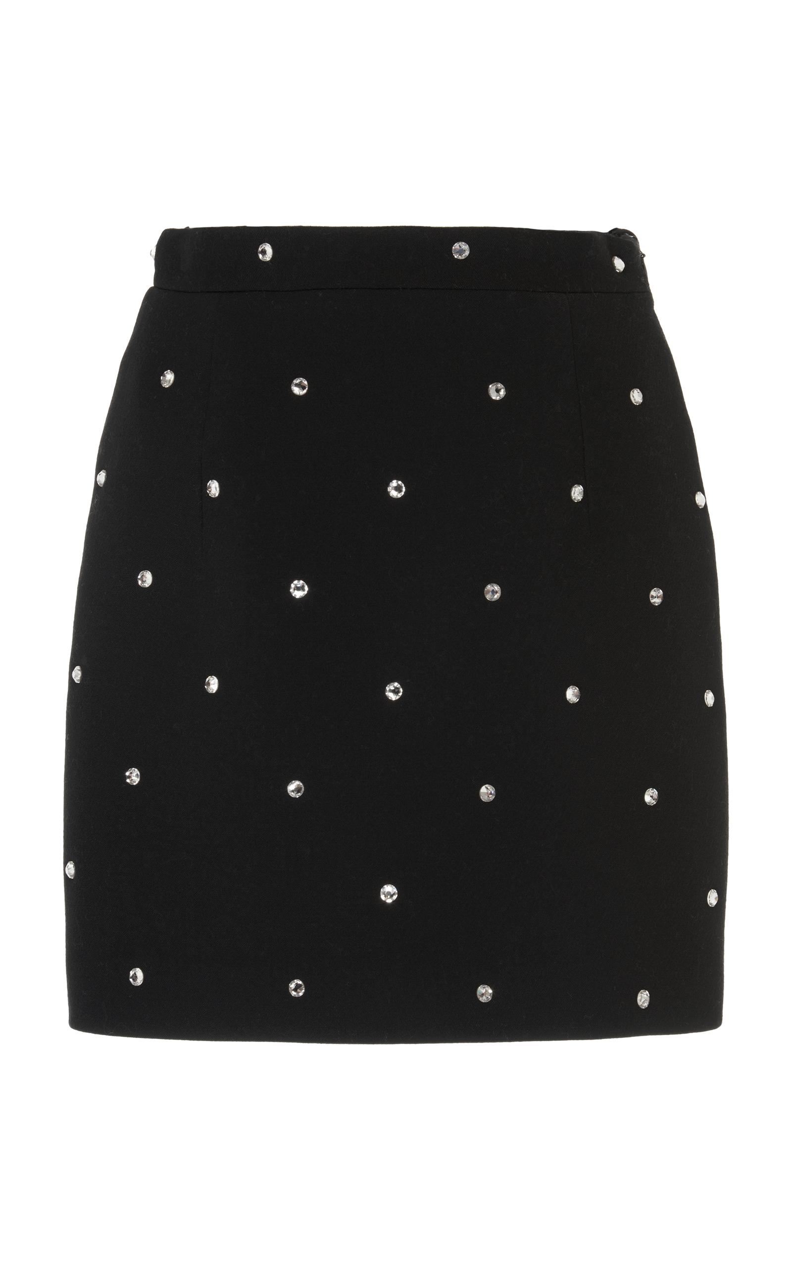Alessandra Rich Crystals Double Wool Skirt In Black