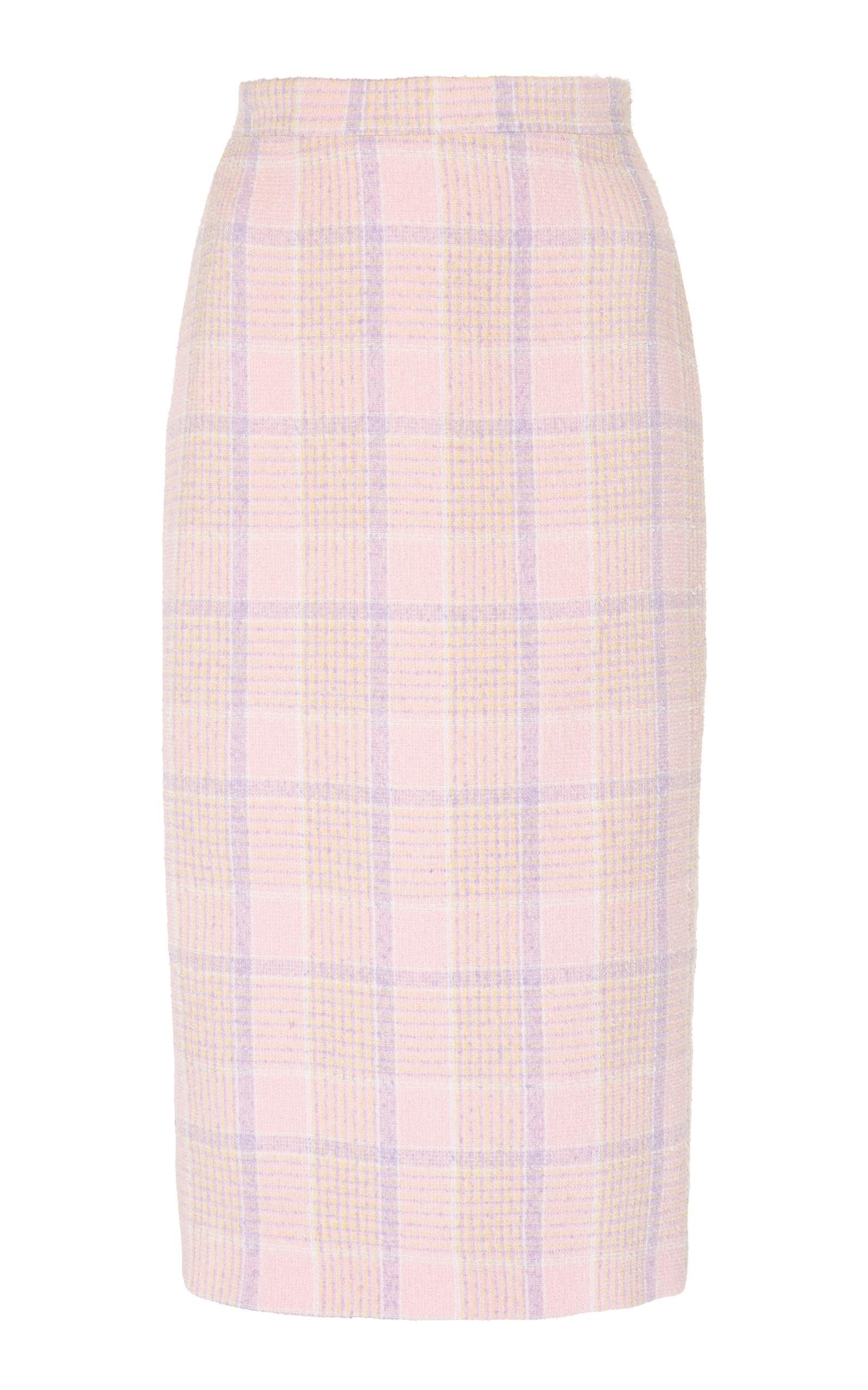 Alessandra Rich Tartan Tweed Pencil Skirt In Pink