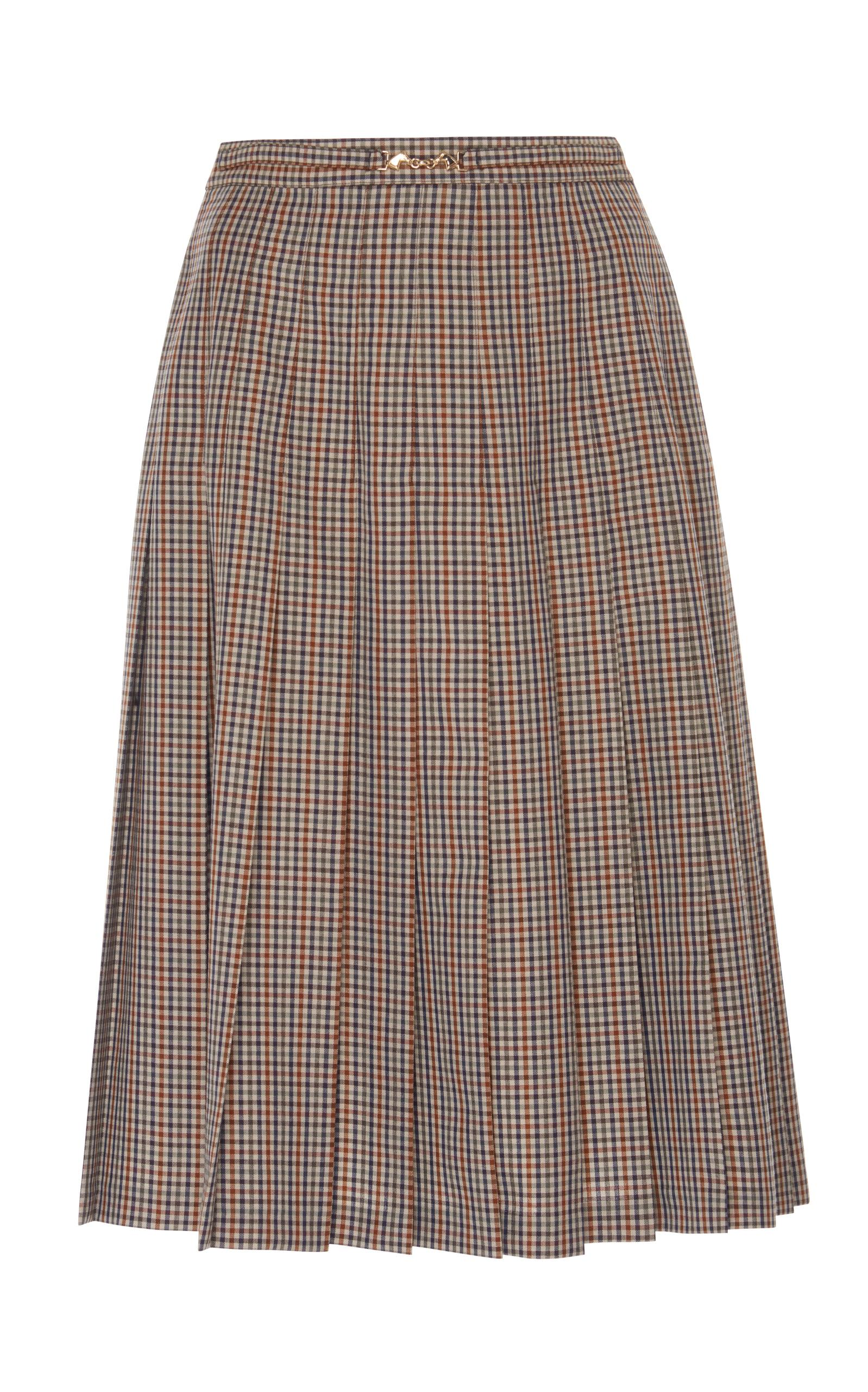 Maison Margiela Micro Check Pleated Skirt In Plaid
