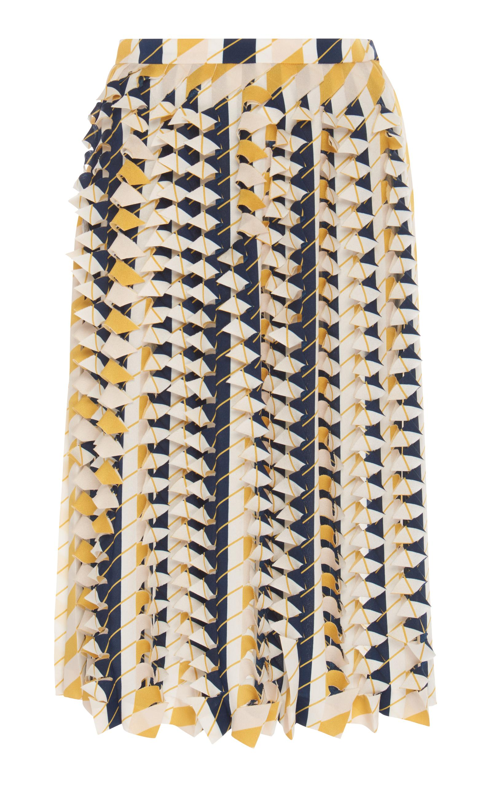 Maison Margiela Vertical Scallop Pleated Skirt In Multi