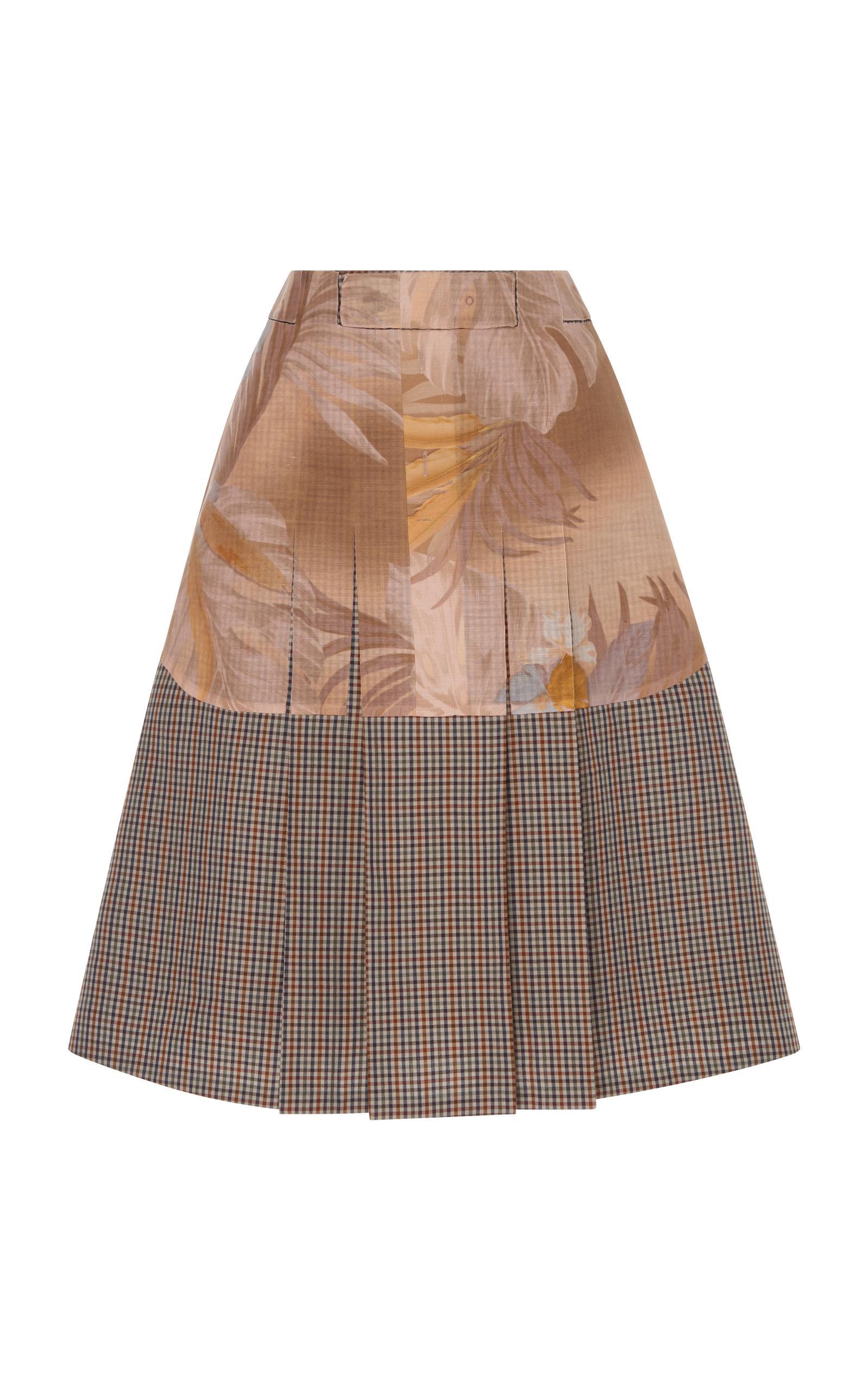 Maison Margiela Tropical Microcheck Print Skirt In Multi