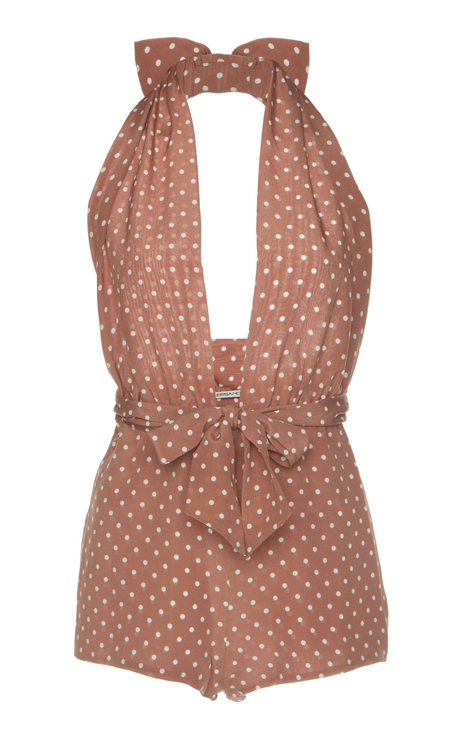 Alessandra Rich Lounge By The Pool Polka Dot Playsuit In Brown