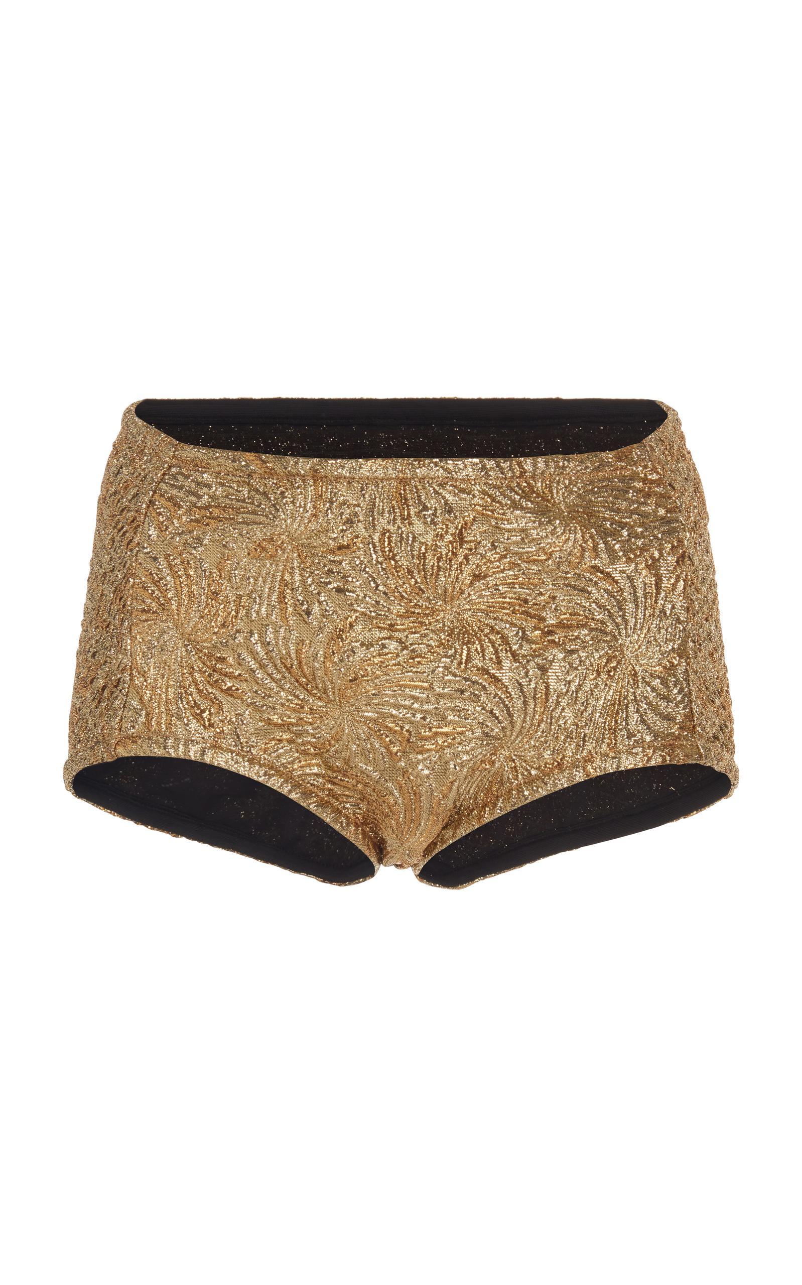 Maison Margiela Lame Cloque Bikini Bottoms In Gold