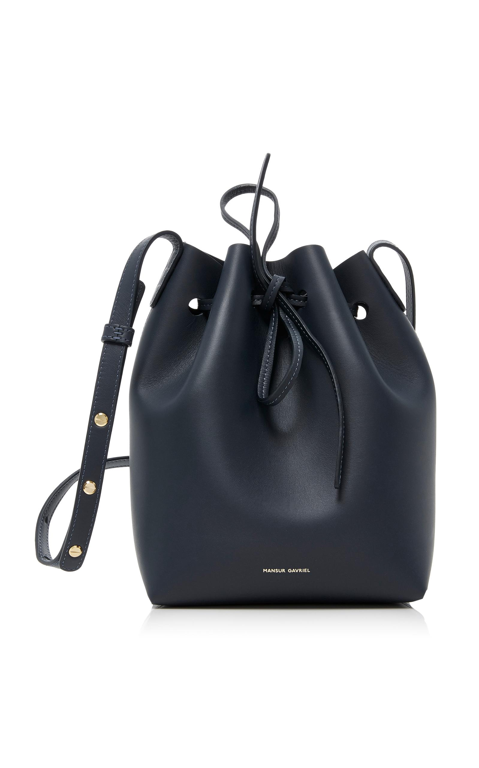 Mansur Gavriel Mini Bucket Leather Bag In Blue