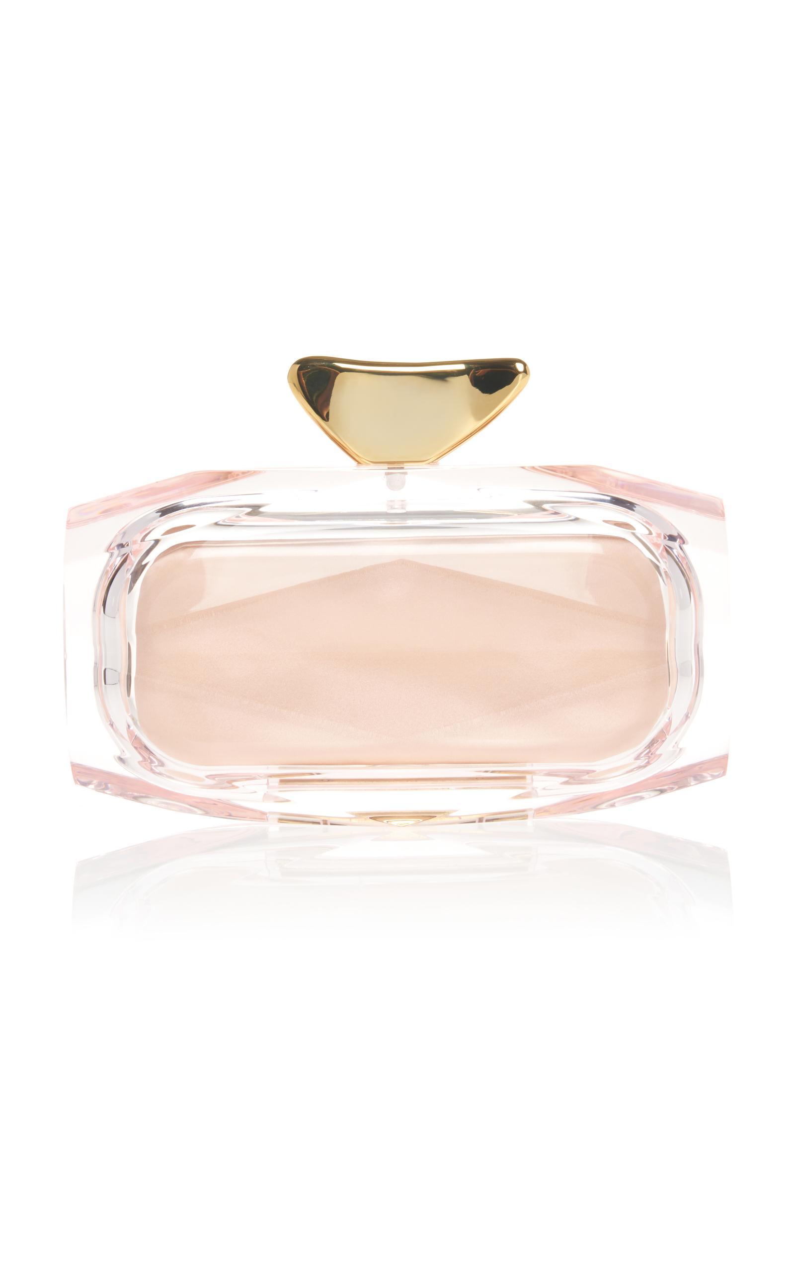 Benedetta Bruzziches Plexiglass Clutch With Brass Breeze In Pink