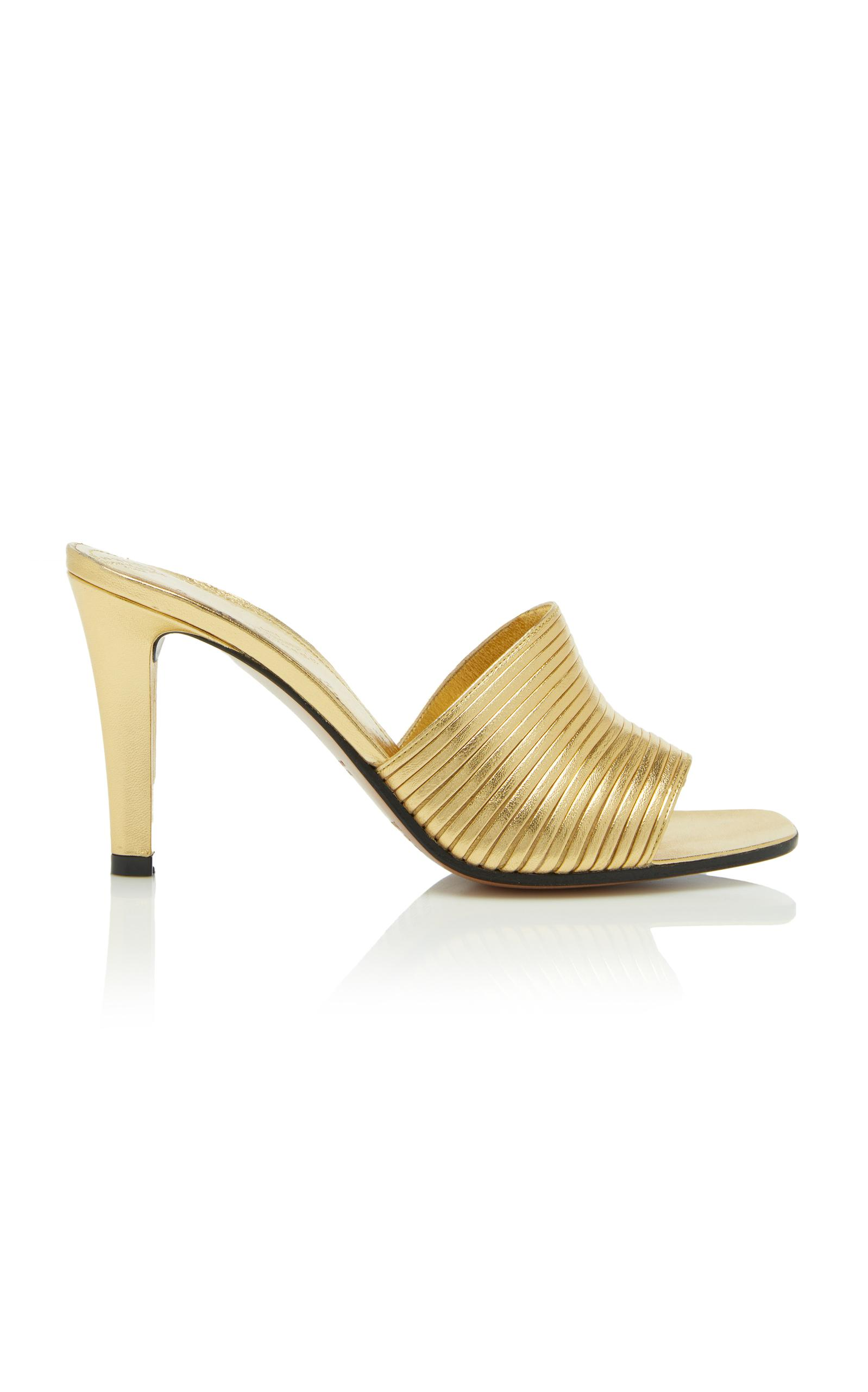 Maison Margiela Metallic Mule In Gold