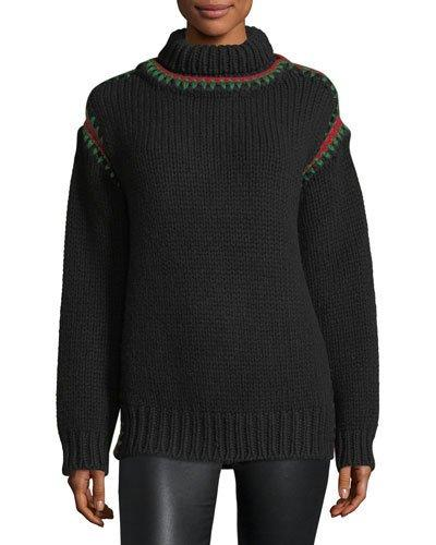 Moncler Maglione Sweater With Stitching In Charcoal
