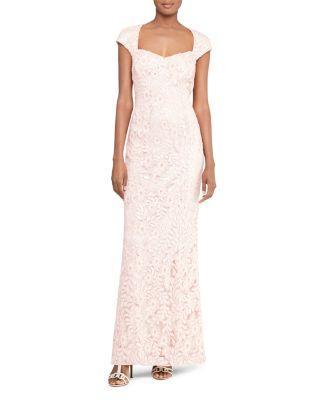 Ralph Lauren Lauren  Sequin Lace Gown In Ivory/Blush Shine