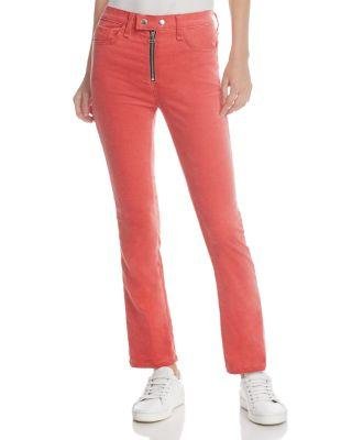 Rag & Bone Dojo High-Rise Stretch-Velvet Cigarette-Leg Jeans In Red