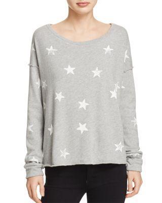Splendid Star Print Pullover In Heather Grey