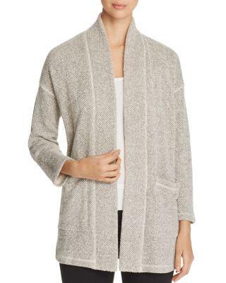 Eileen Fisher Textured Knit Kimono Jacket In Ash
