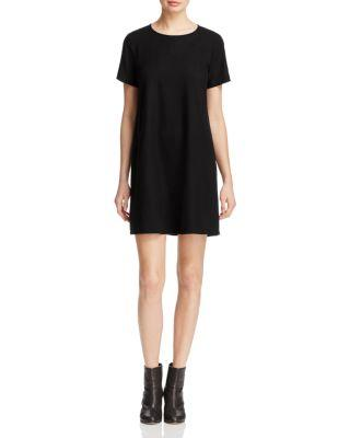 Eileen Fisher Round Neck Silk Noil Dress In Black