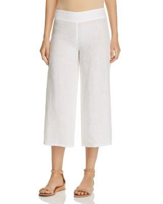 Eileen Fisher Cropped Wide Leg Linen Pants In White