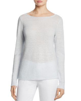 Eileen Fisher Organic Linen Boat Neck Sweater In Rain