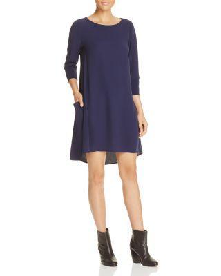 Eileen Fisher Three-Quarter Sleeve Silk Dress In Midnight